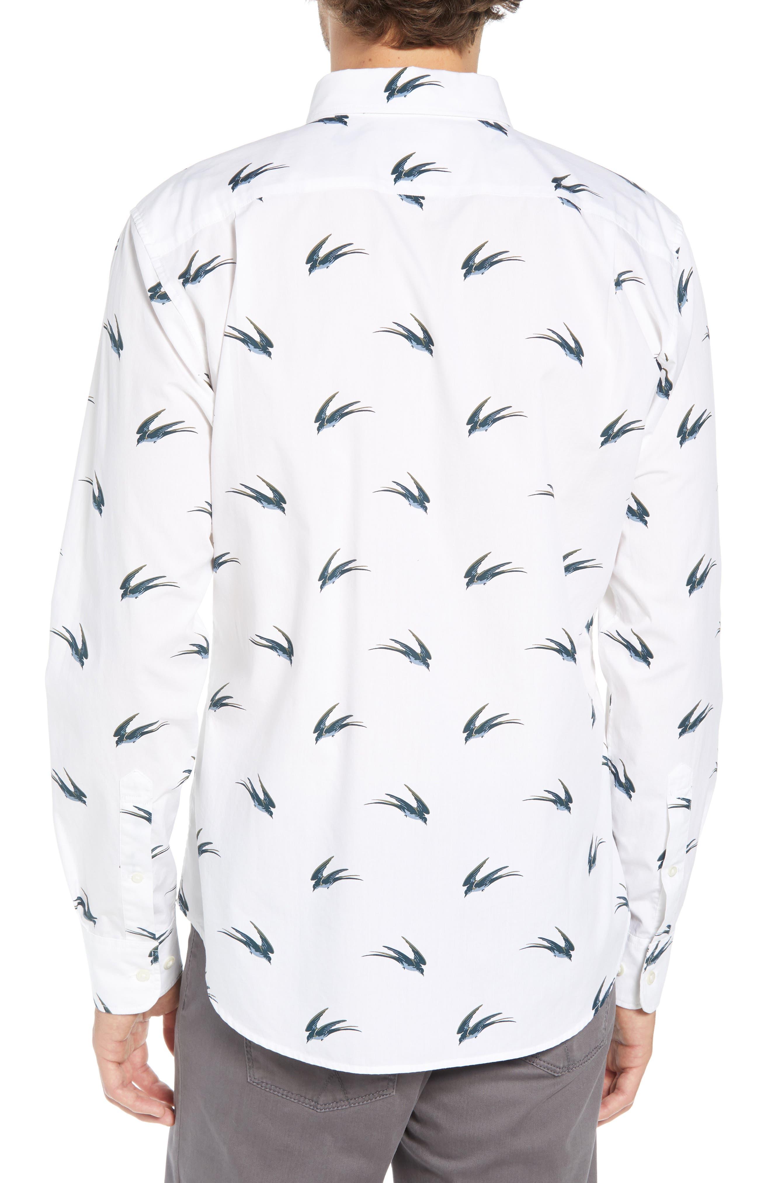 Summerweight Slim Fit Swallow Print Sport Shirt,                             Alternate thumbnail 3, color,                             SWALLOW HOLLOW - VIRIDIEN