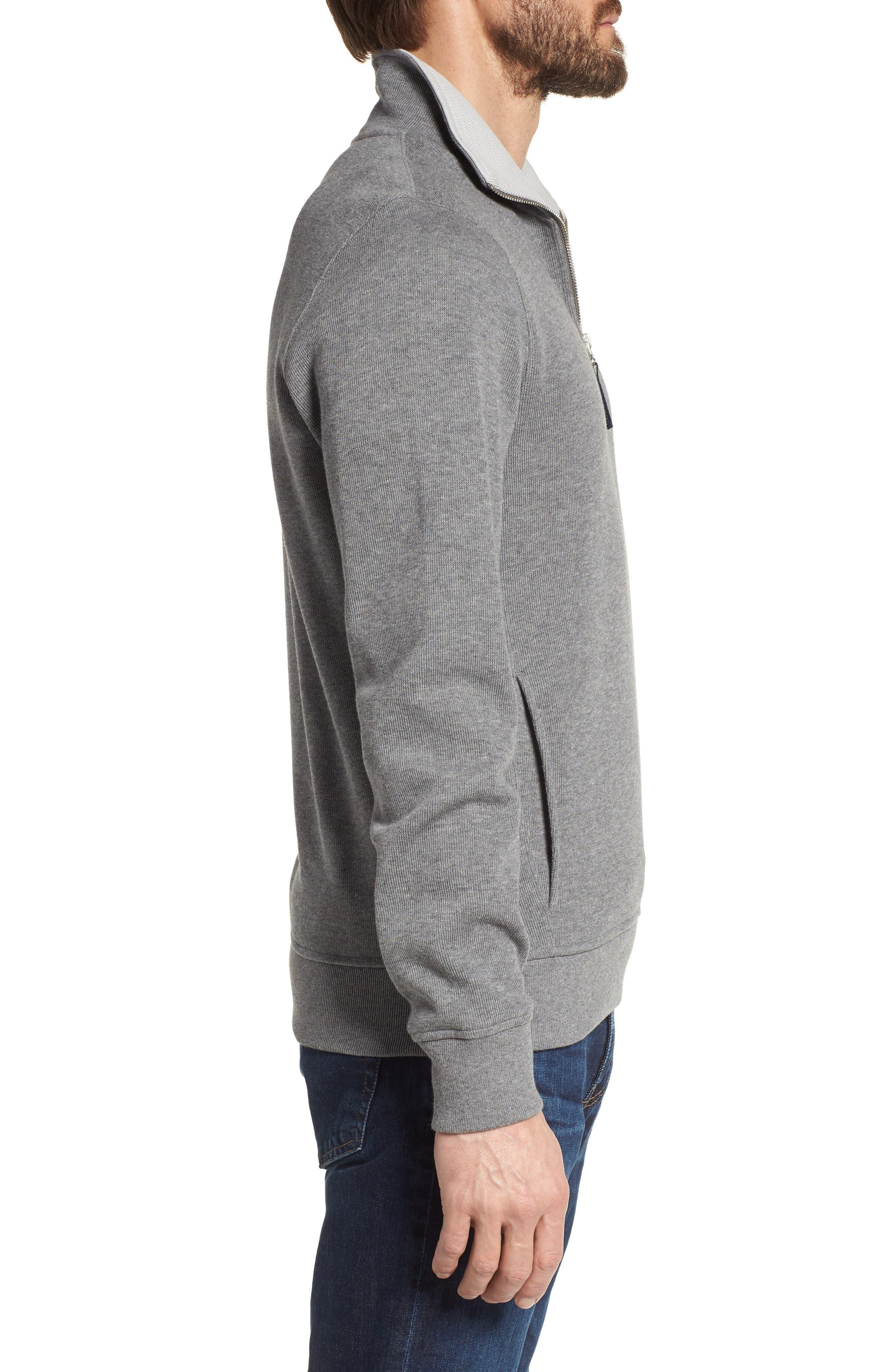 Quarter Zip Cotton Interlock Sweatshirt,                             Alternate thumbnail 3, color,                             GALAXITE CHINE/ NIMBUS