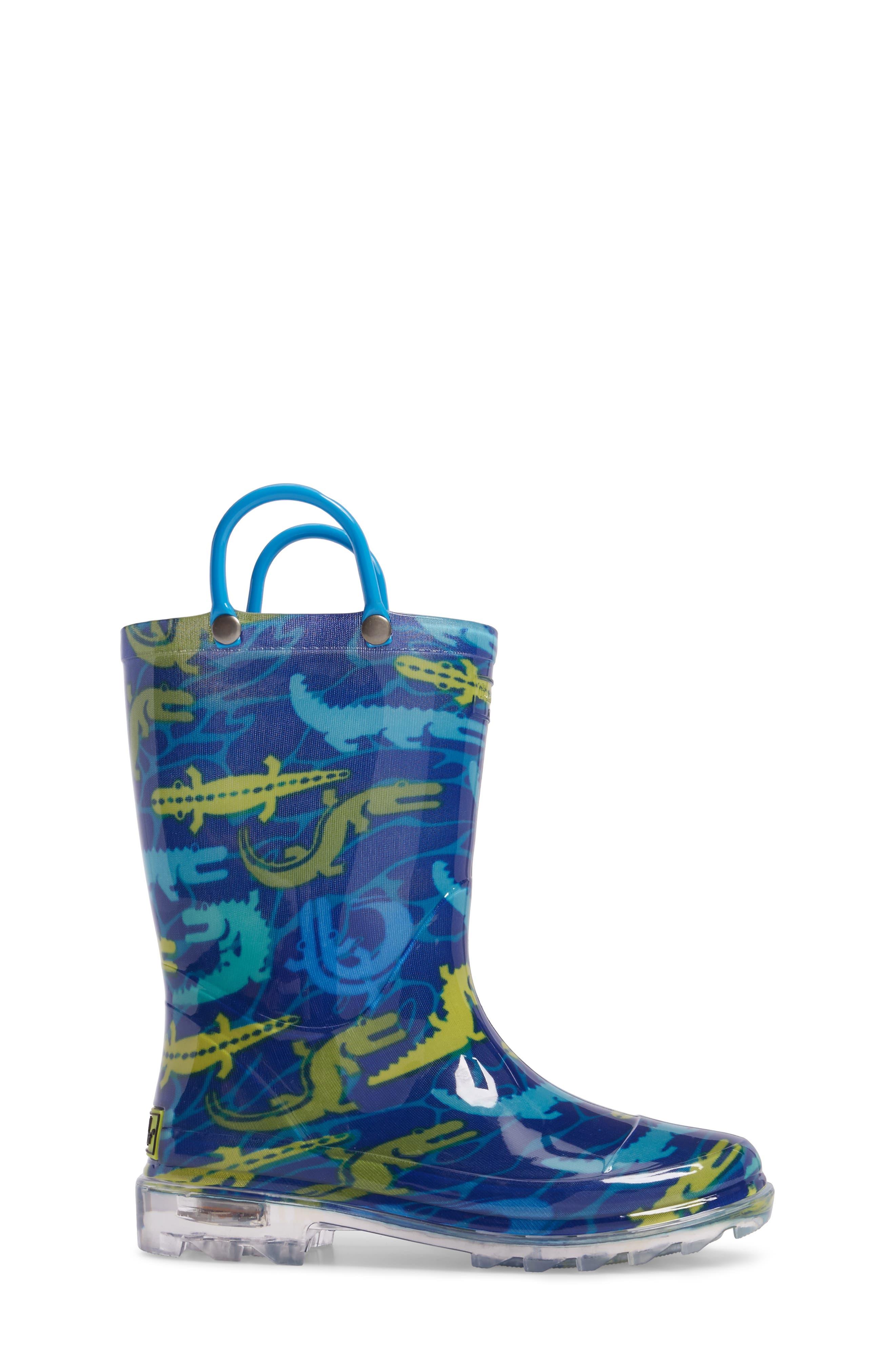 Gators Galore Light-Up Rain Boot,                             Alternate thumbnail 3, color,                             421