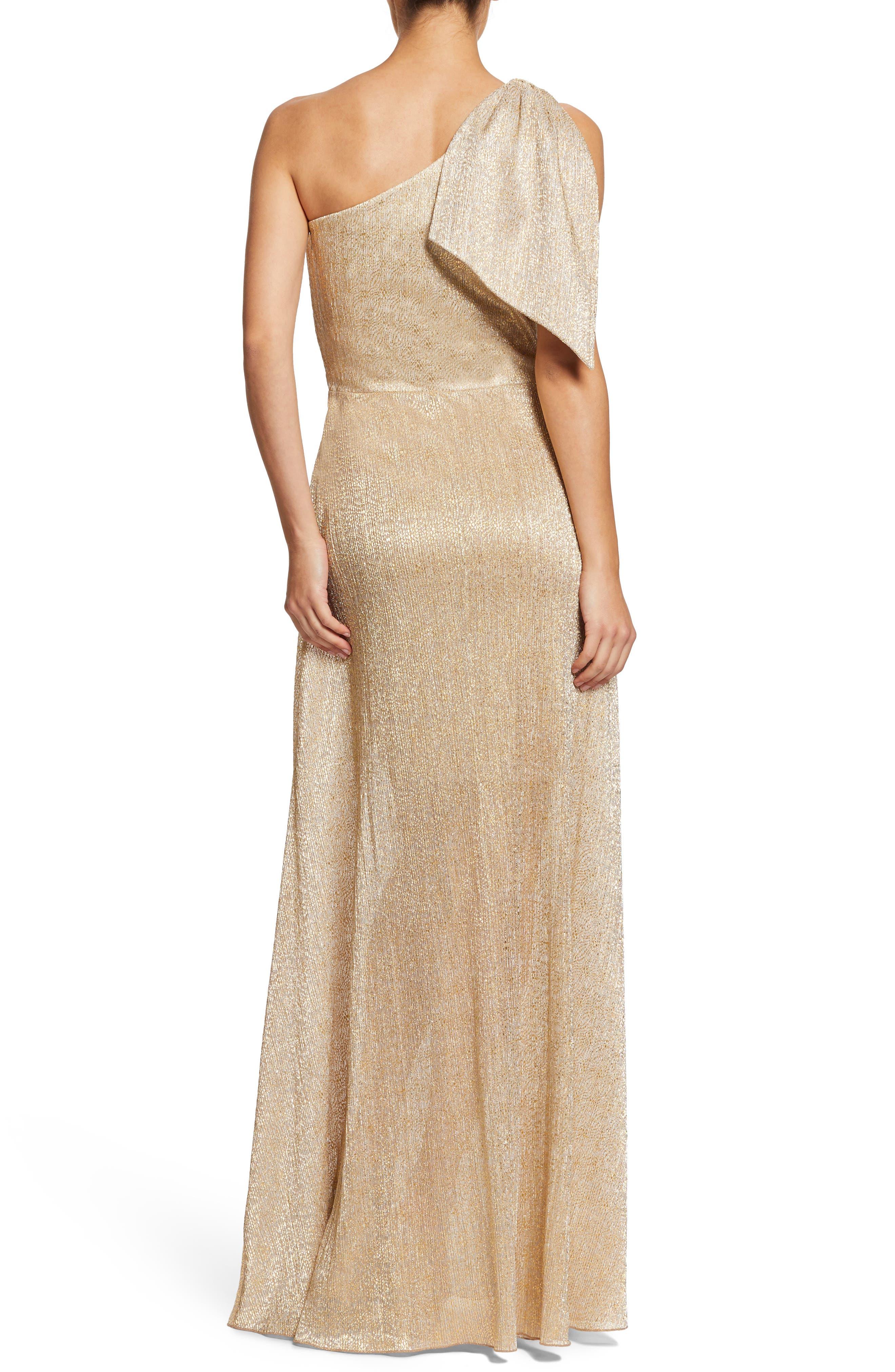 Savannah One-Shoulder Gown,                             Alternate thumbnail 2, color,                             GOLD