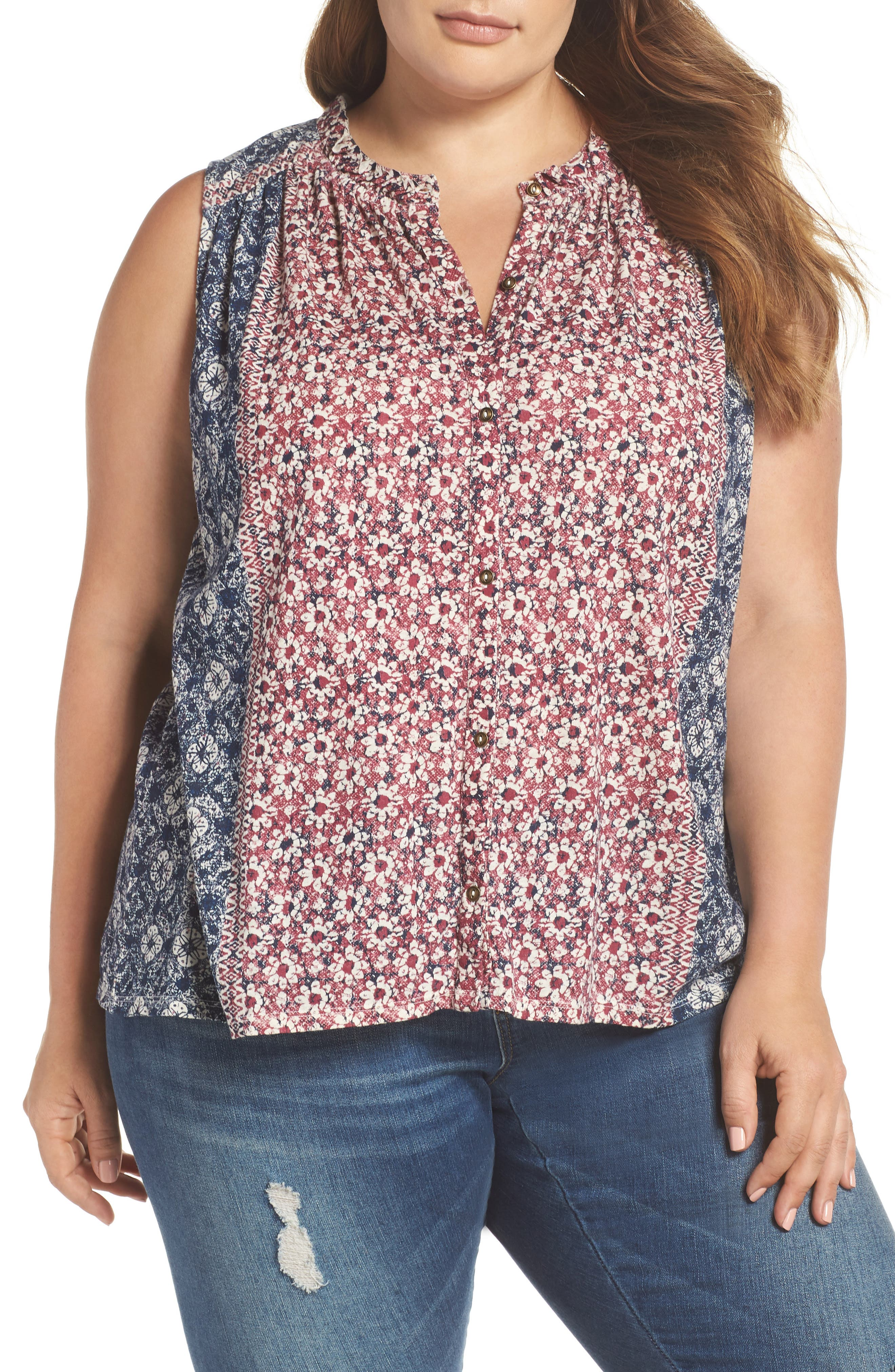 Geo Print Tank,                             Main thumbnail 1, color,                             659