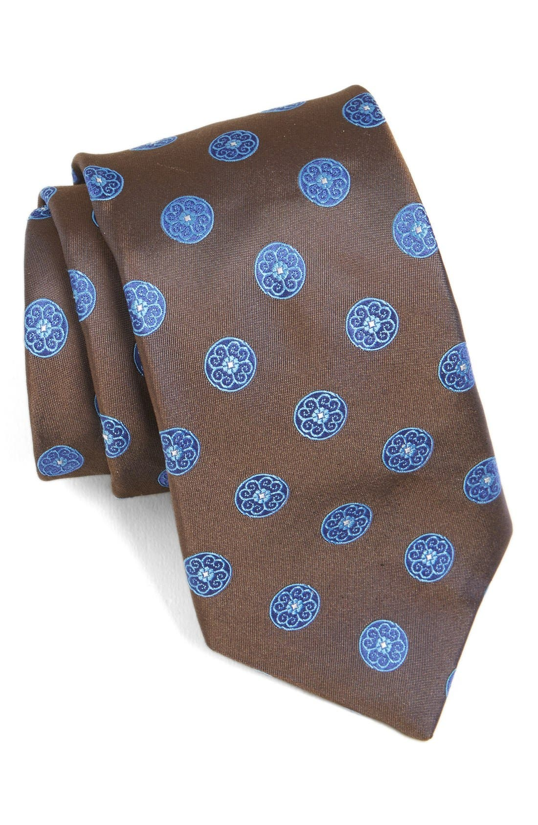 Medallion Woven Silk Tie,                         Main,                         color, 200