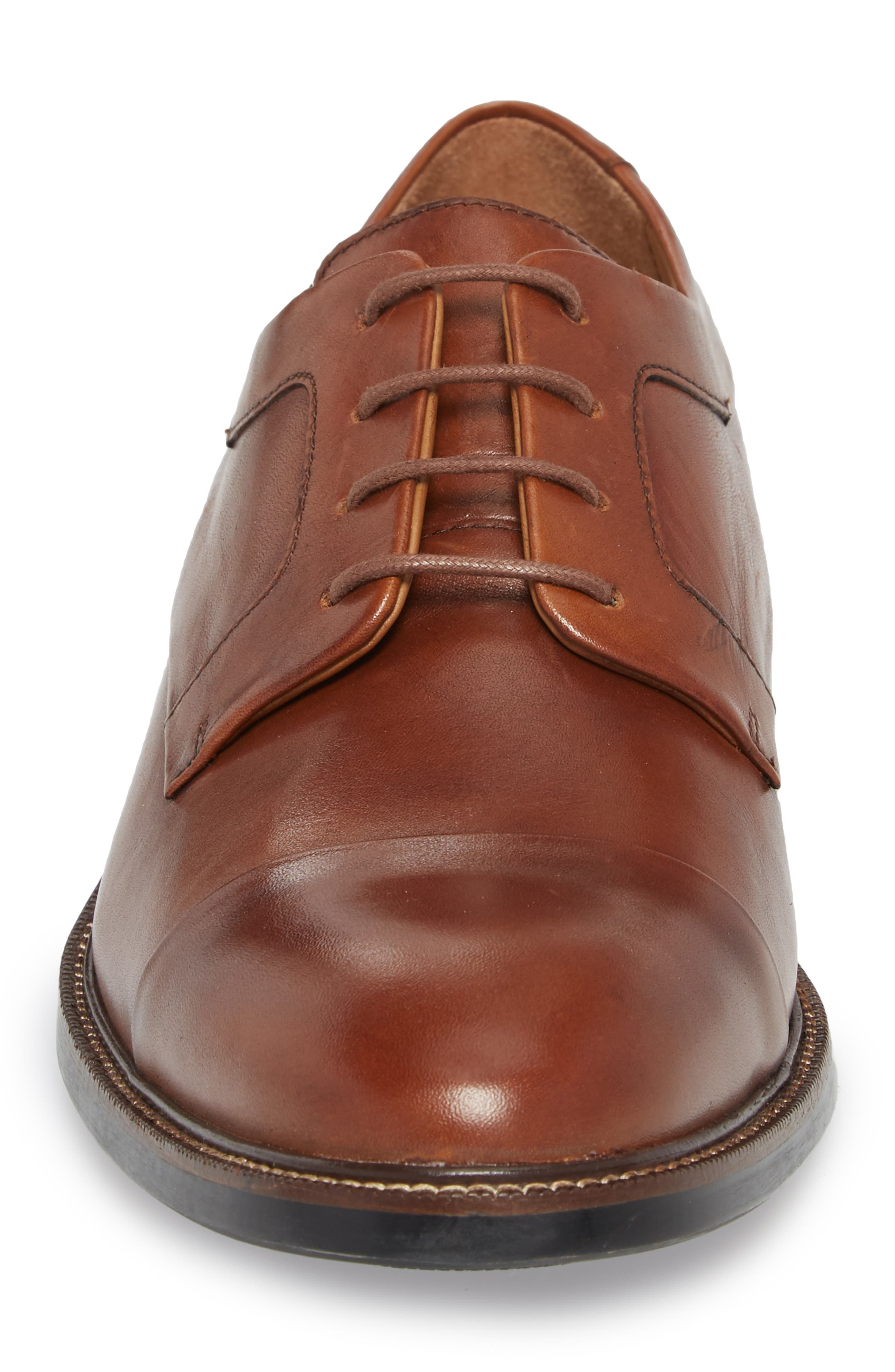 Warren Cap Toe Derby,                             Alternate thumbnail 4, color,                             BRITISH TAN LEATHER