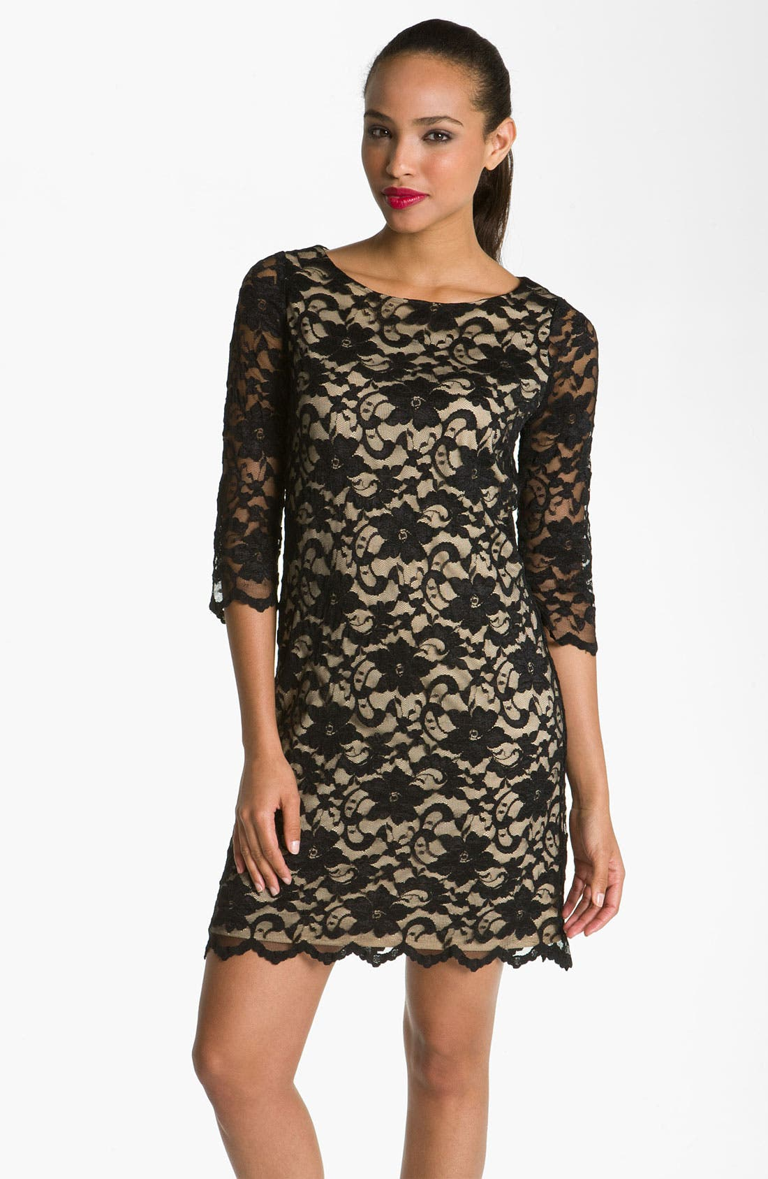 Lace Overlay Dress,                         Main,                         color, 001