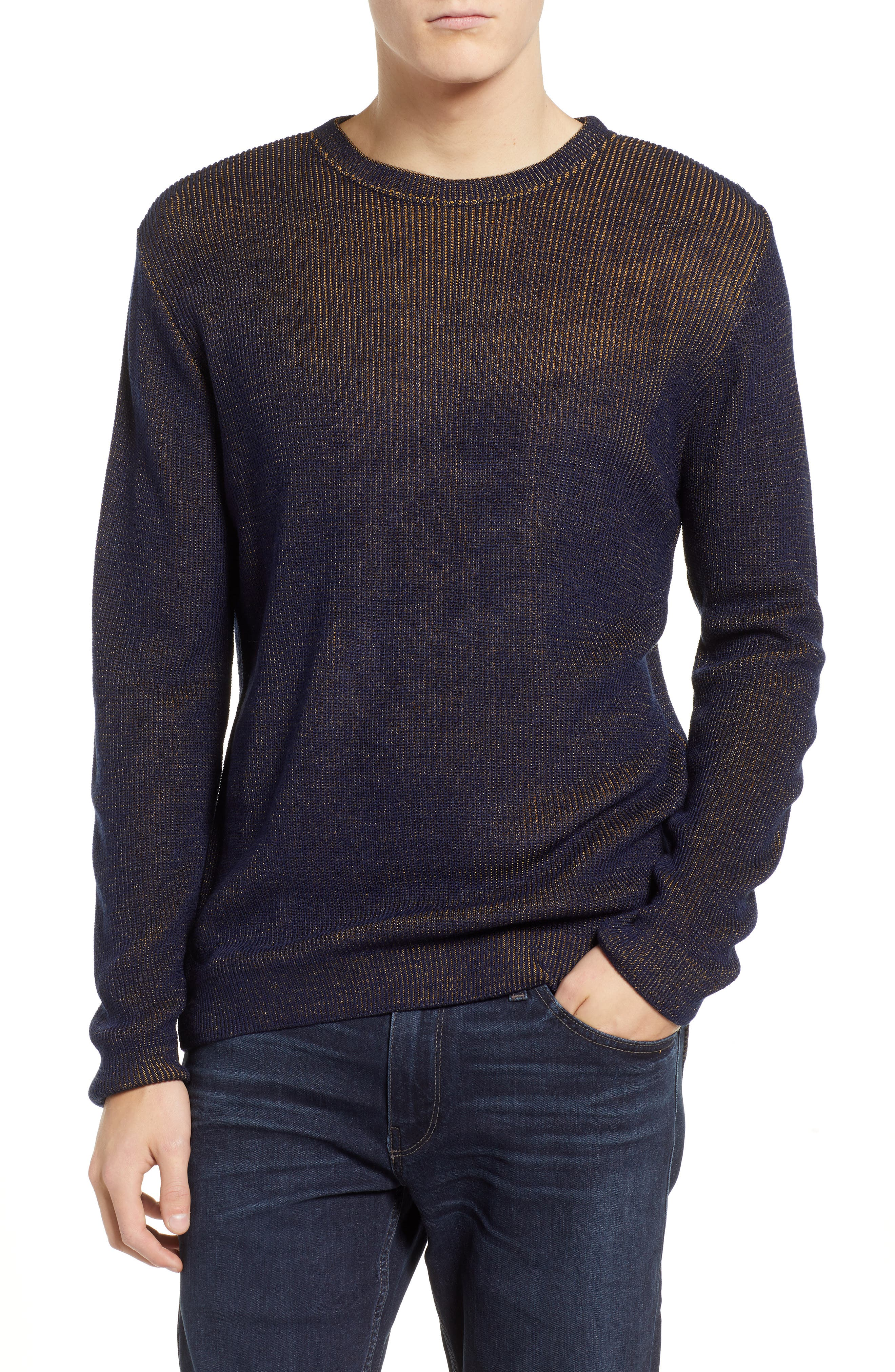 Plaited Crewneck Sweater,                         Main,                         color, NAVY