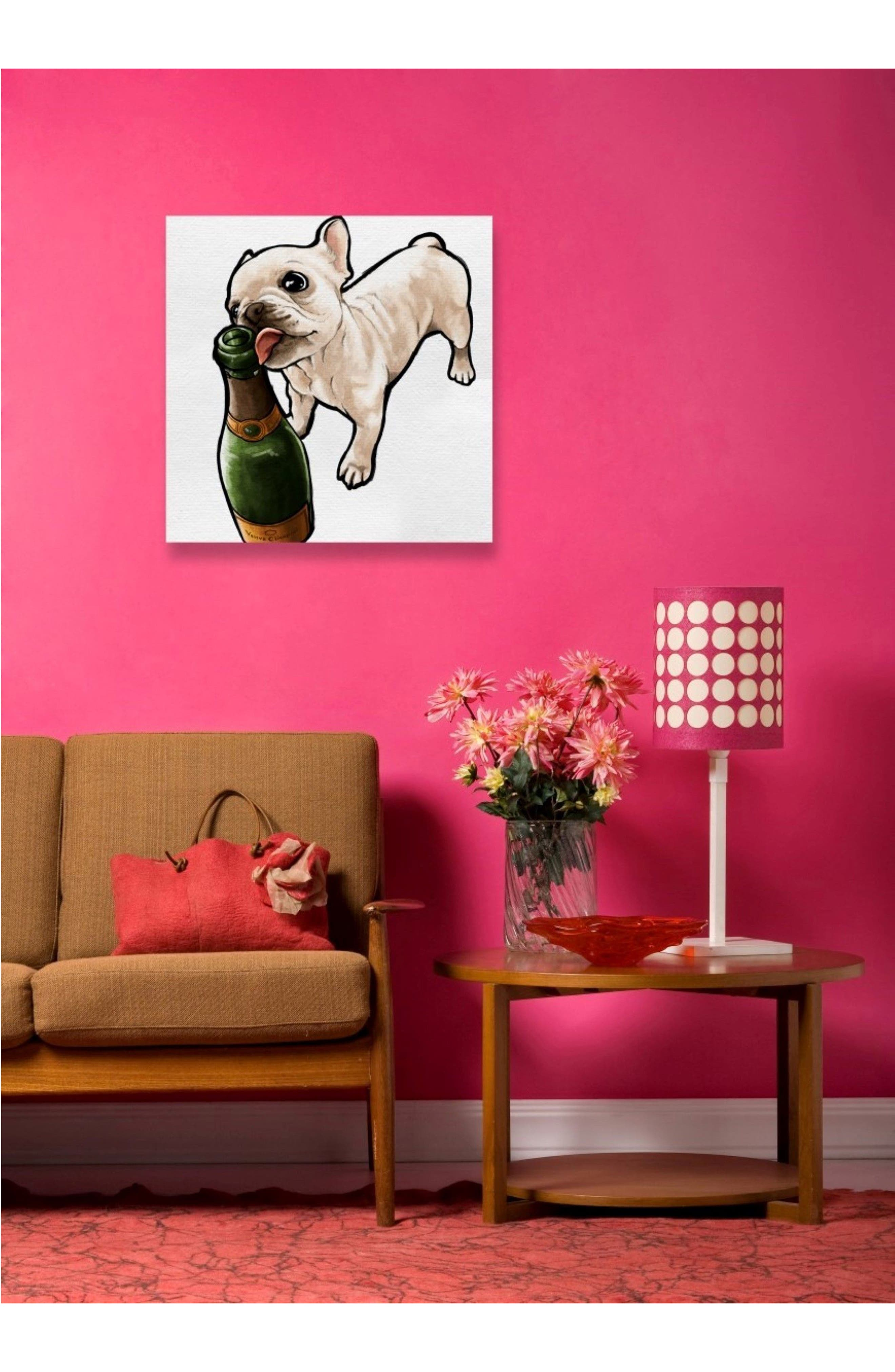 Frenchie & Bubbly Canvas Wall Art,                             Alternate thumbnail 2, color,                             WHITE