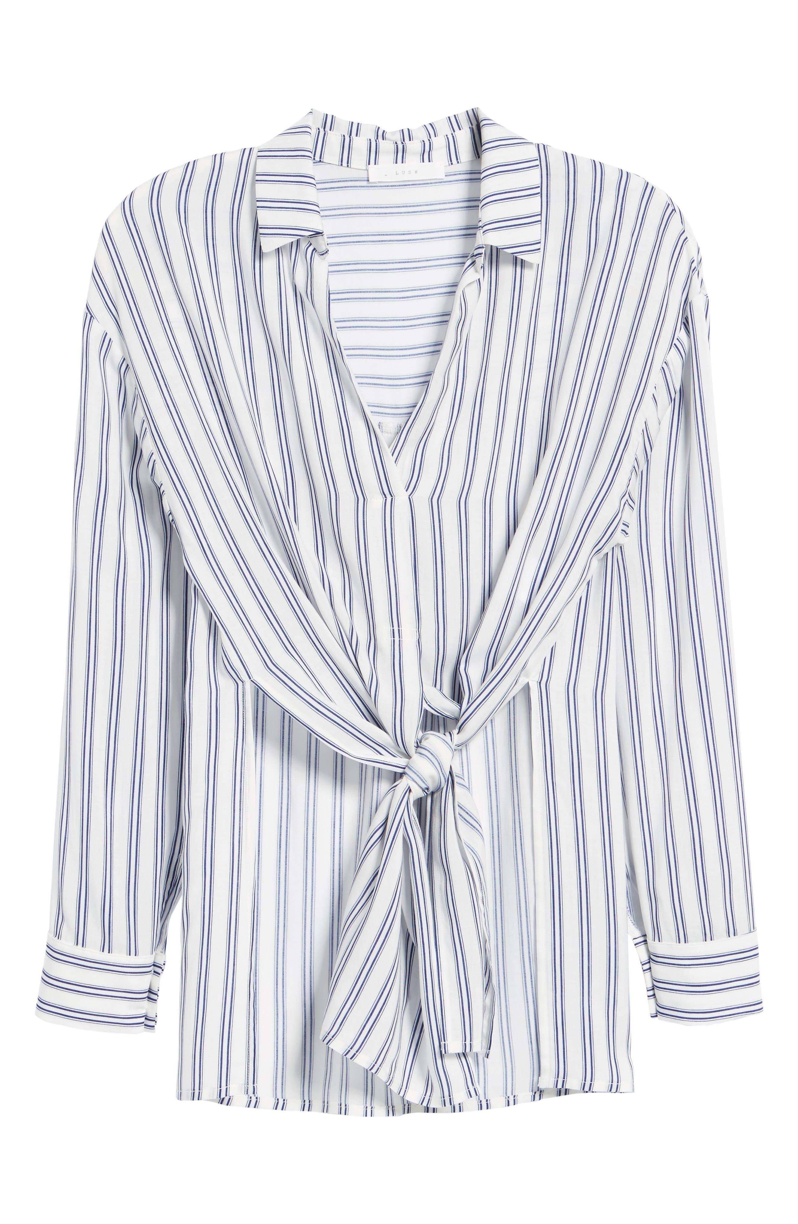Stripe Tie Waist Blouse,                             Alternate thumbnail 6, color,                             100