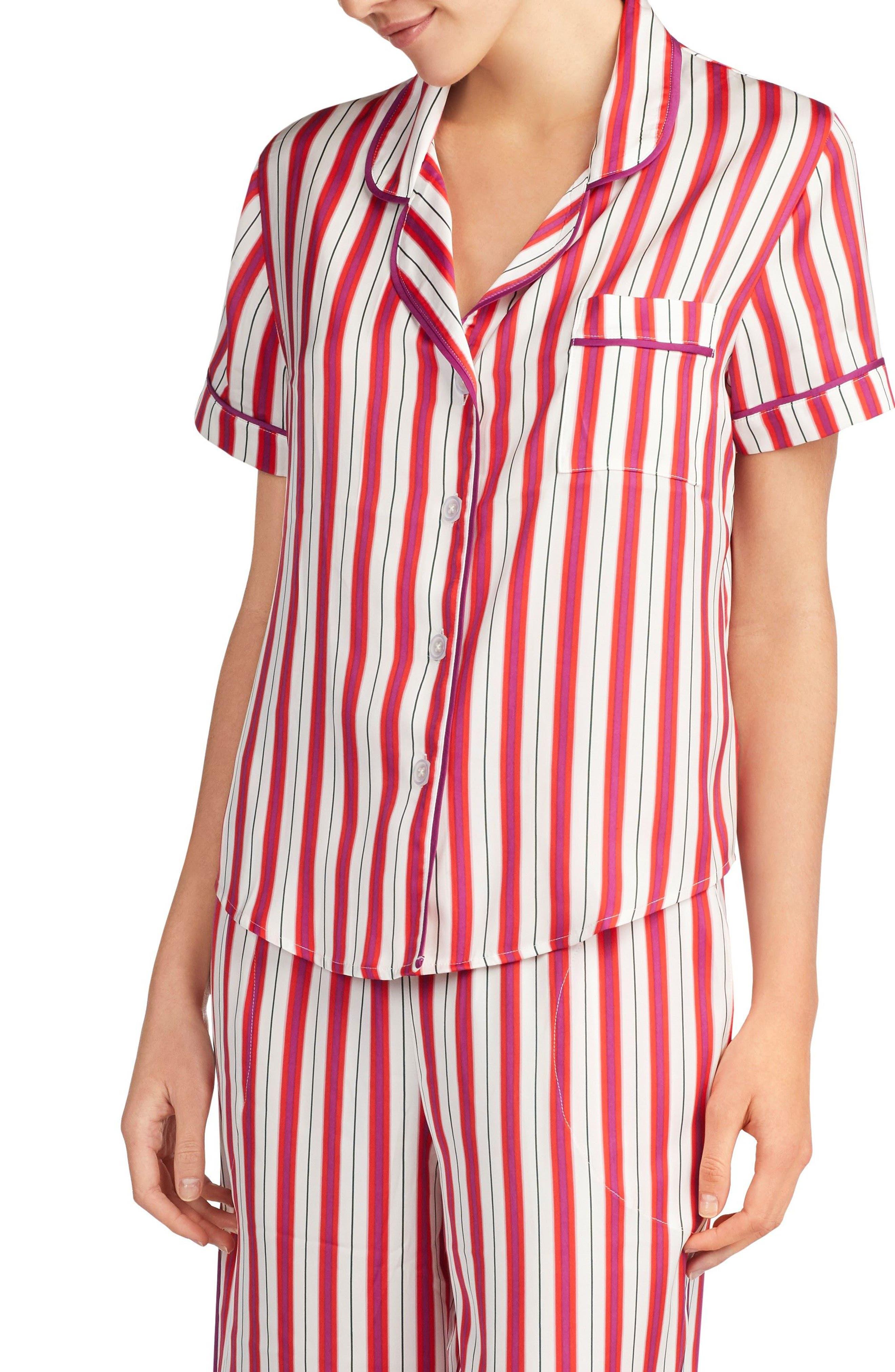 Satin Pajama Top,                             Alternate thumbnail 8, color,