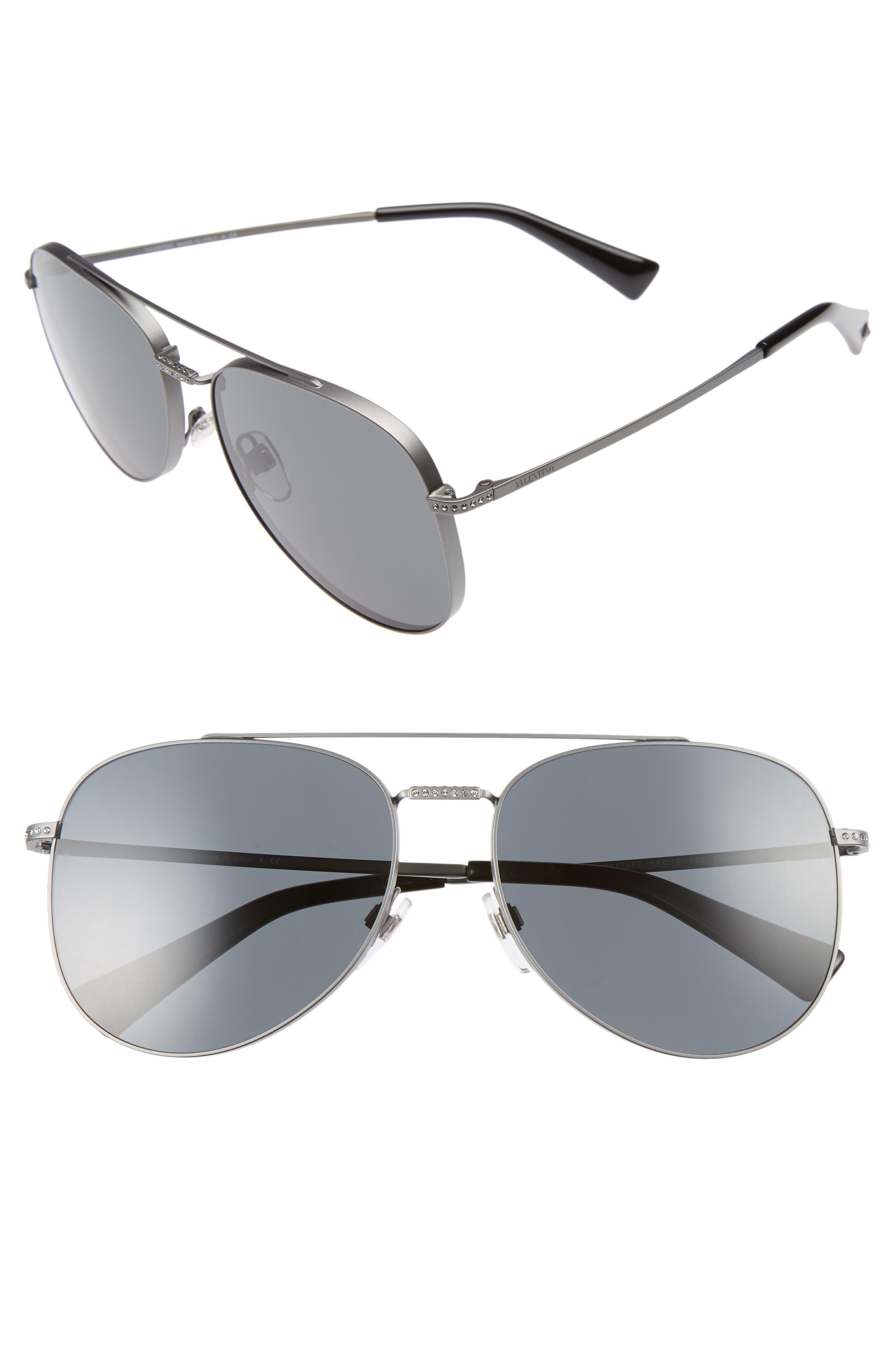 56mm Aviator Sunglasses,                         Main,                         color, MATTE RUTHENIUM/ GREY CRYSTAL