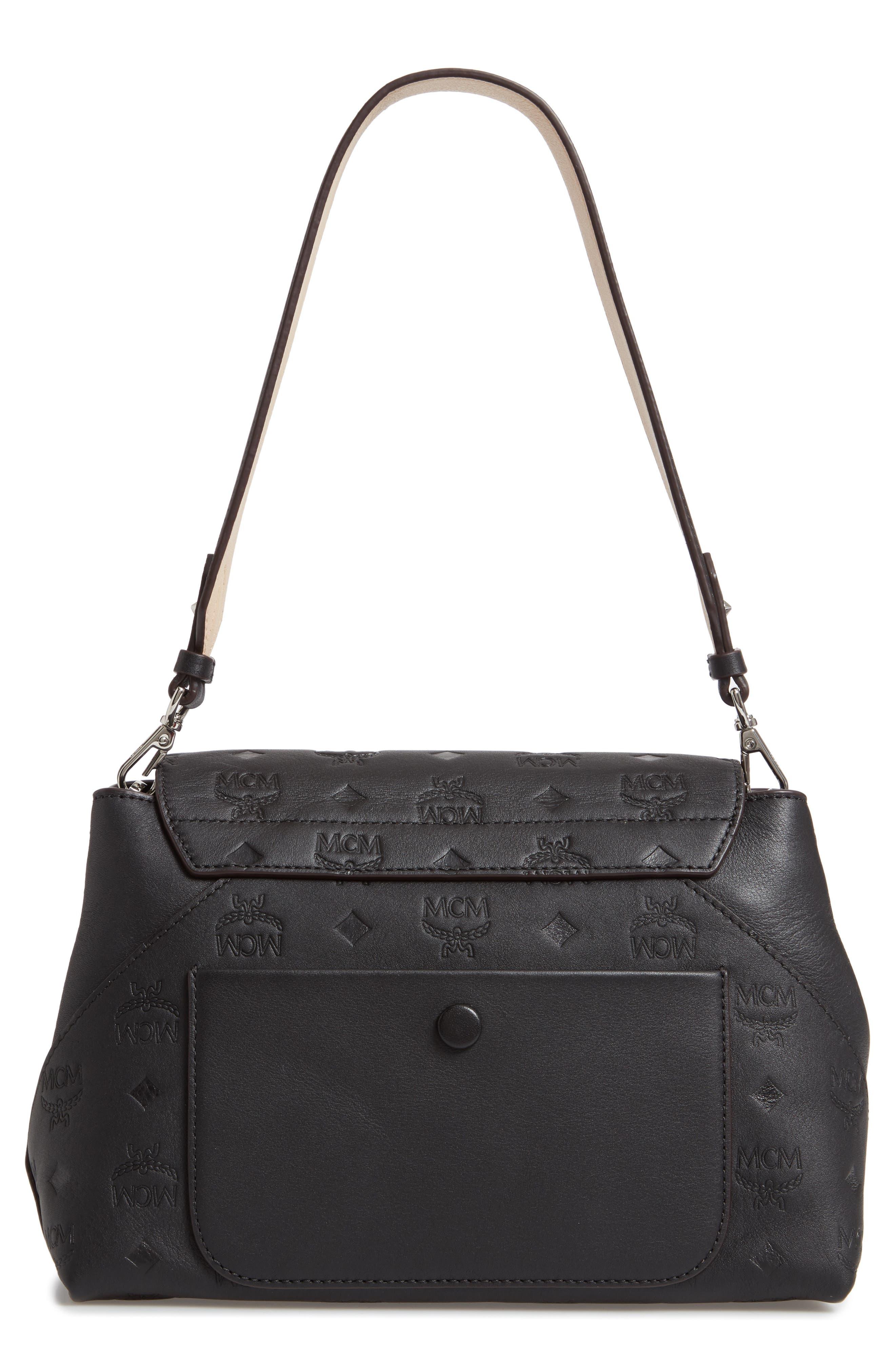 MCM,                             Essentials Monogram Leather Small Crossbody Bag,                             Alternate thumbnail 4, color,                             BLACK