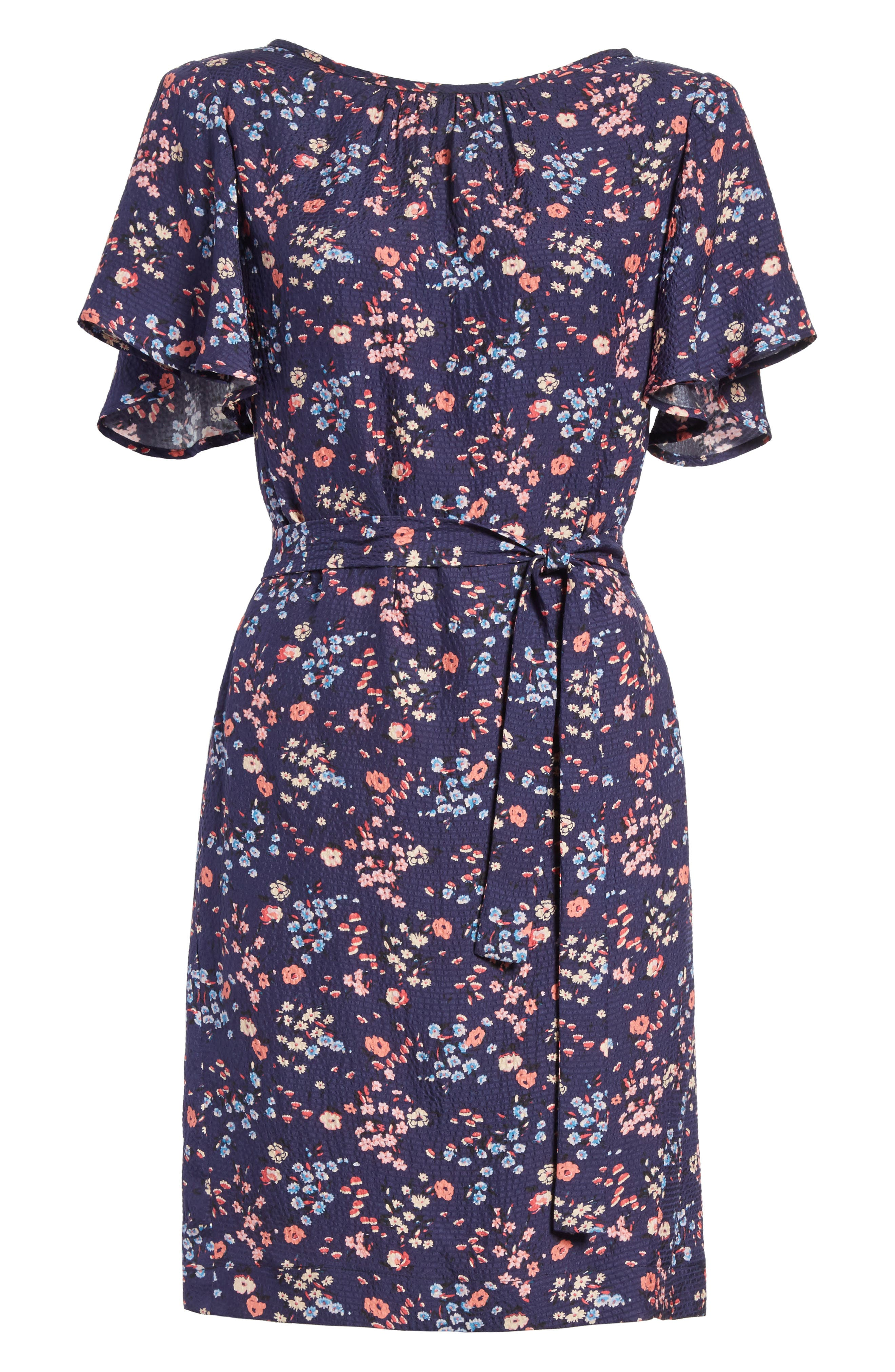 Woodland Floral Print Silk Dress,                             Alternate thumbnail 6, color,