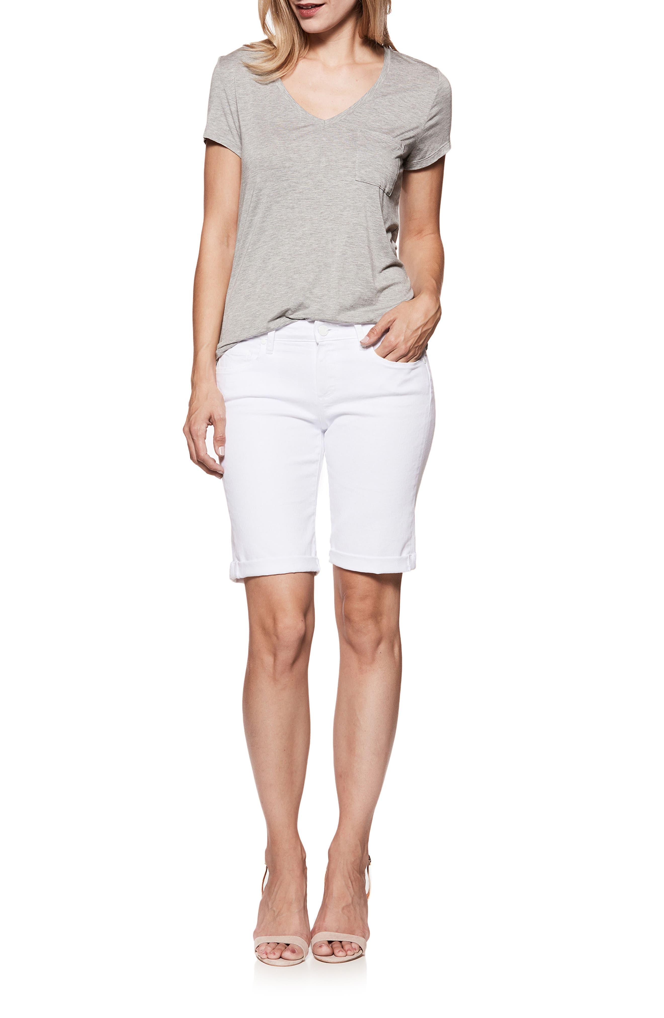 PAIGE,                             Jax Denim Bermuda Shorts,                             Alternate thumbnail 6, color,                             CRISP WHITE