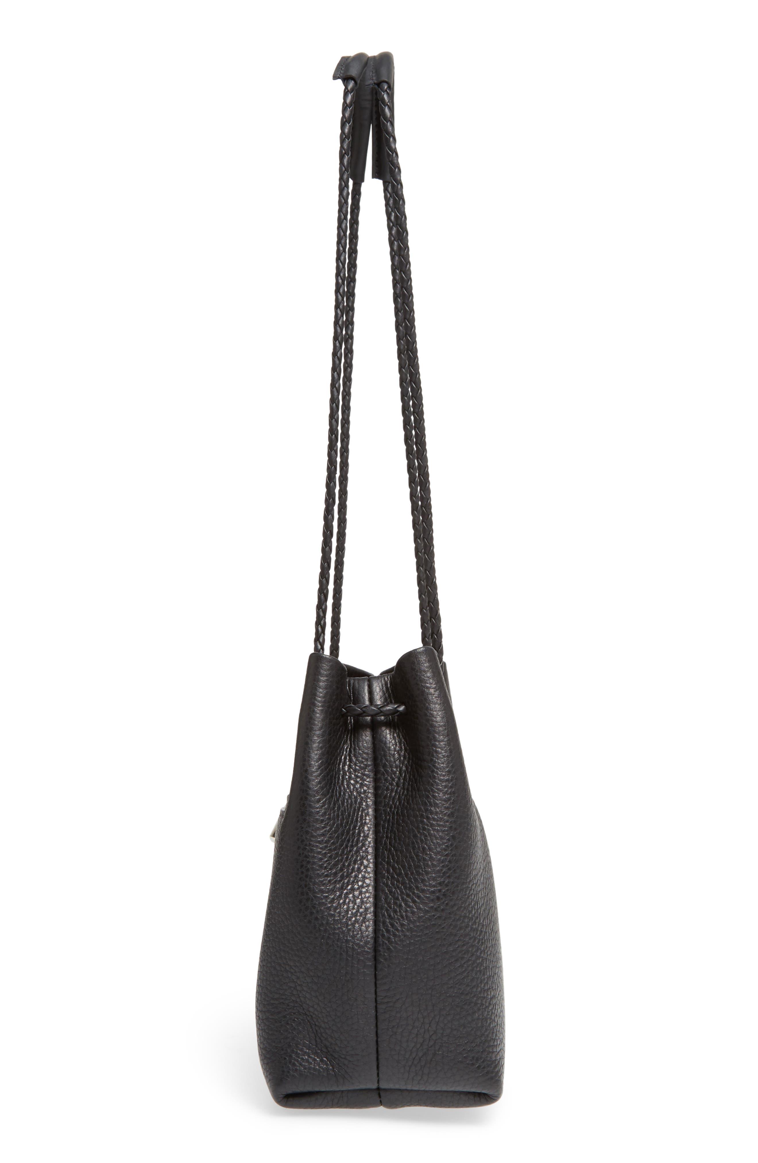 Mini Pebbled Leather Drawstring Crossbody Bag,                             Alternate thumbnail 5, color,                             001