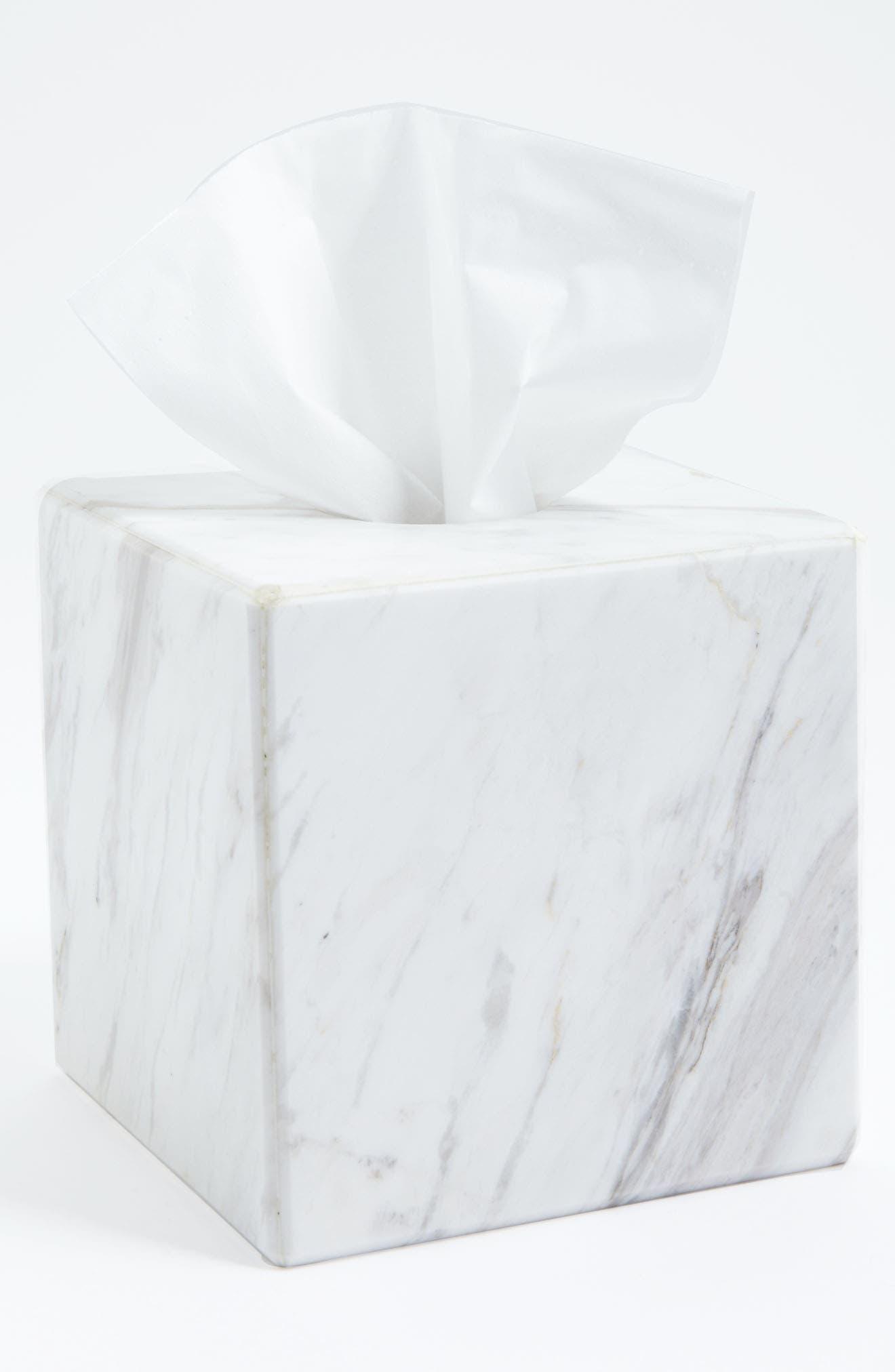 'Luna' White Marble Tissue Cover,                         Main,                         color, WHITE