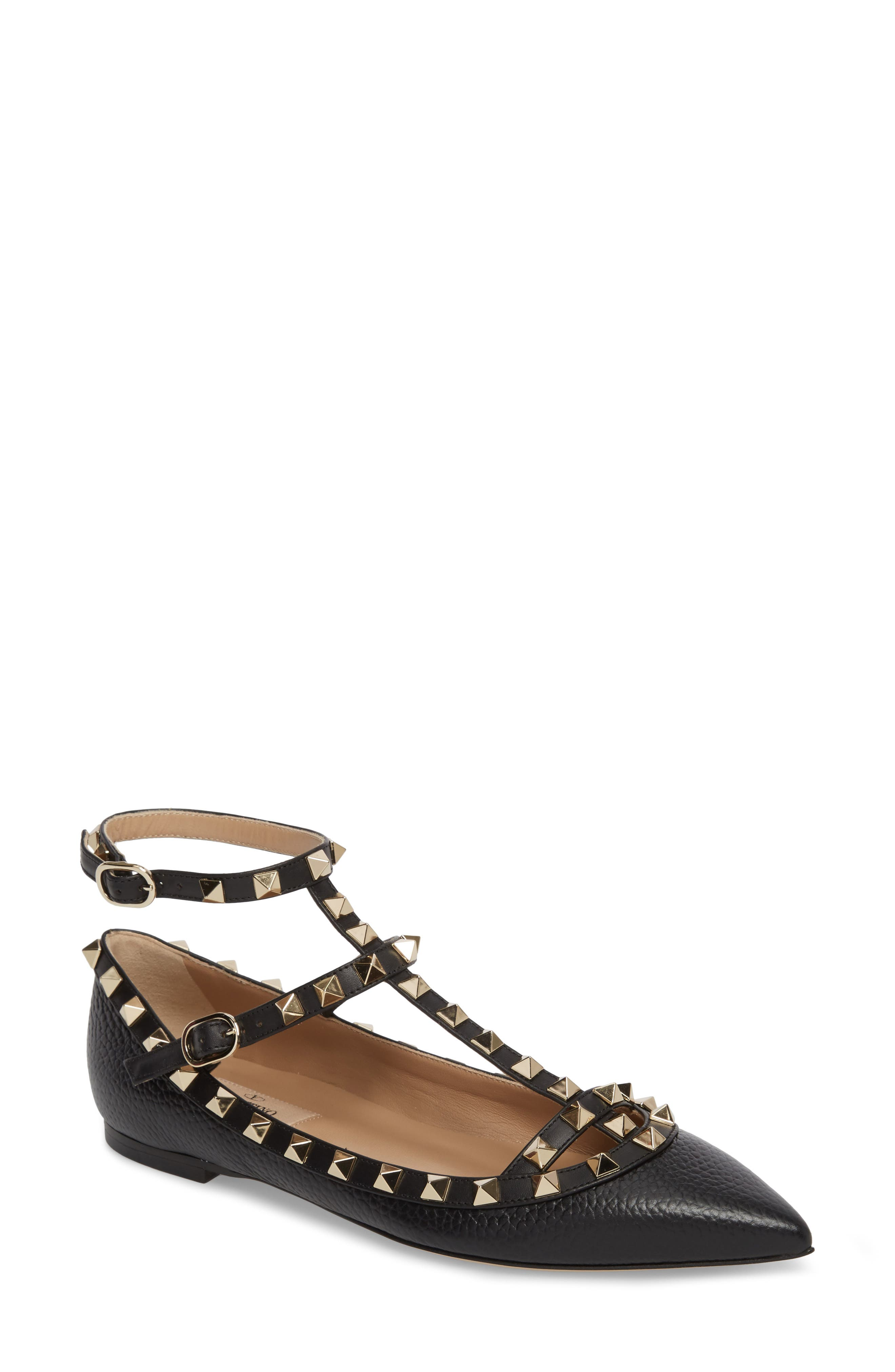 Rockstud Ankle Strap Pointy Toe Flat,                             Main thumbnail 1, color,                             001