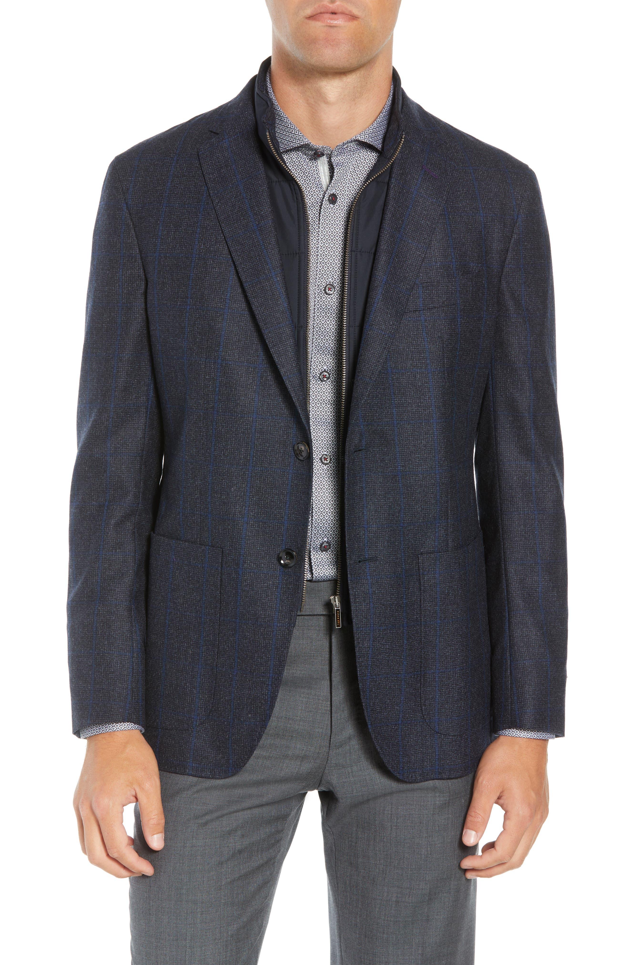 Tucker Trim Fit Windowpane Wool Sport Coat,                             Main thumbnail 1, color,                             BLUE