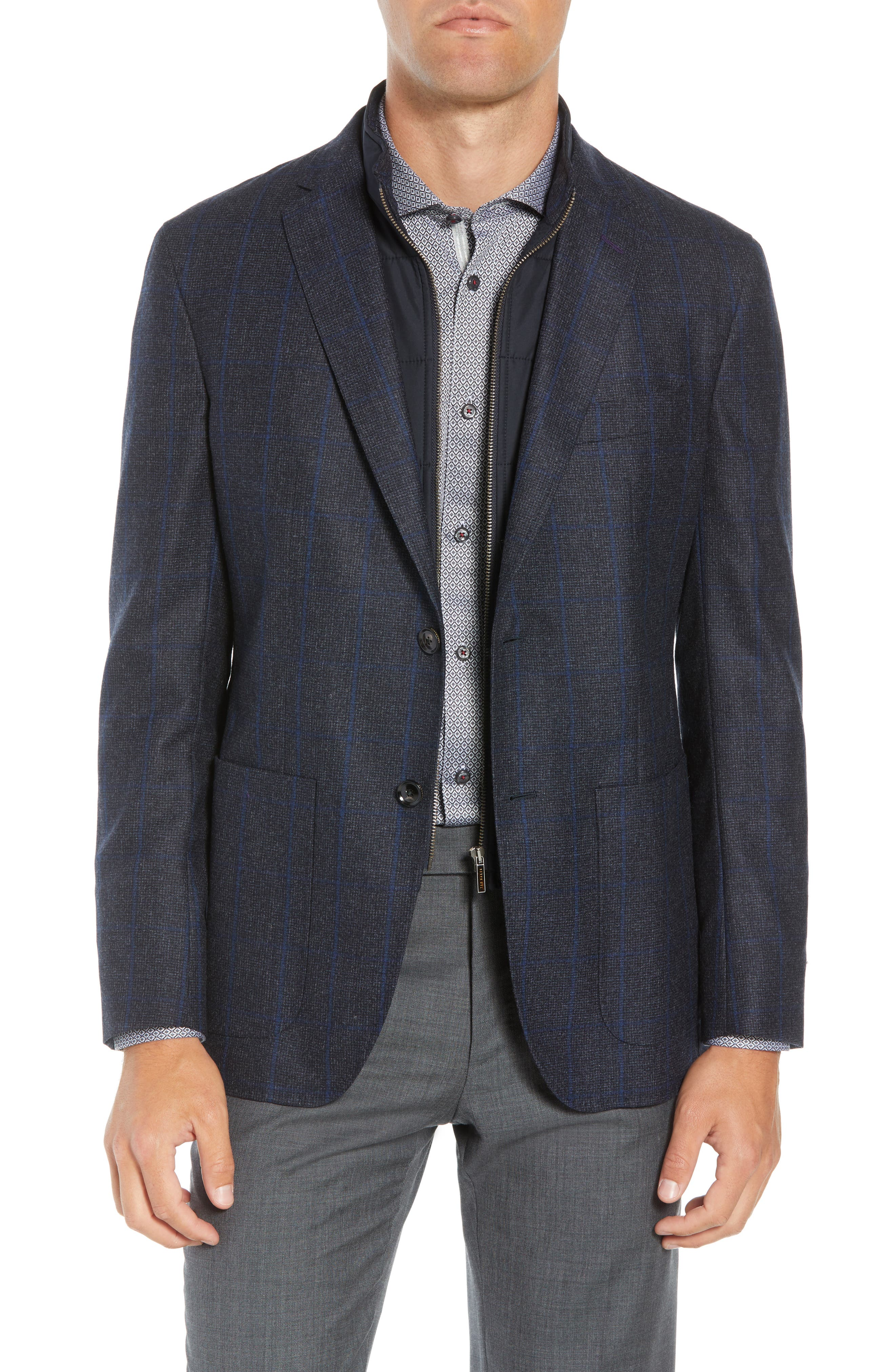 Tucker Trim Fit Windowpane Wool Sport Coat,                         Main,                         color, BLUE