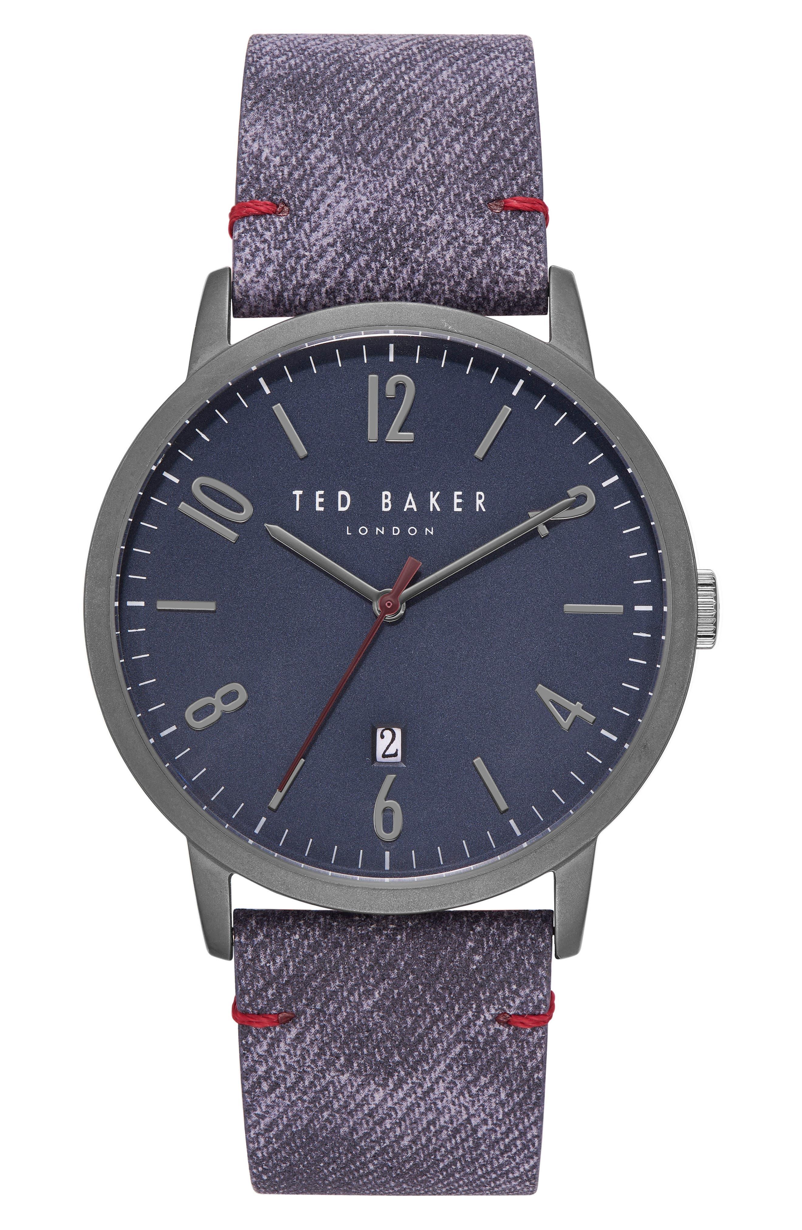 Daniel Synthetic Strap Watch, 42mm,                         Main,                         color, DARK BLUE/ BLUE