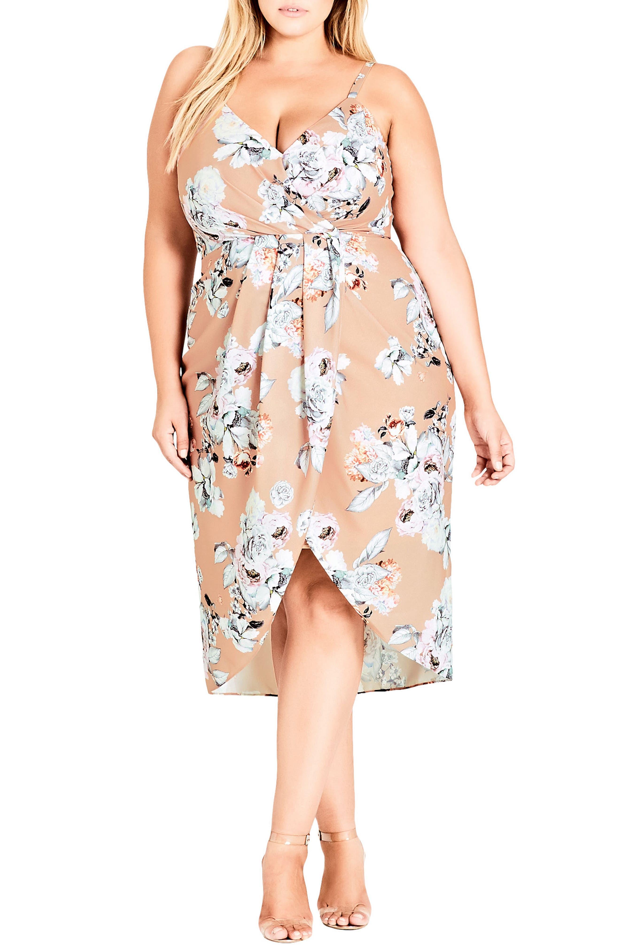 Paper Floral Mock Wrap Dress,                             Main thumbnail 1, color,                             PAPER FLORAL