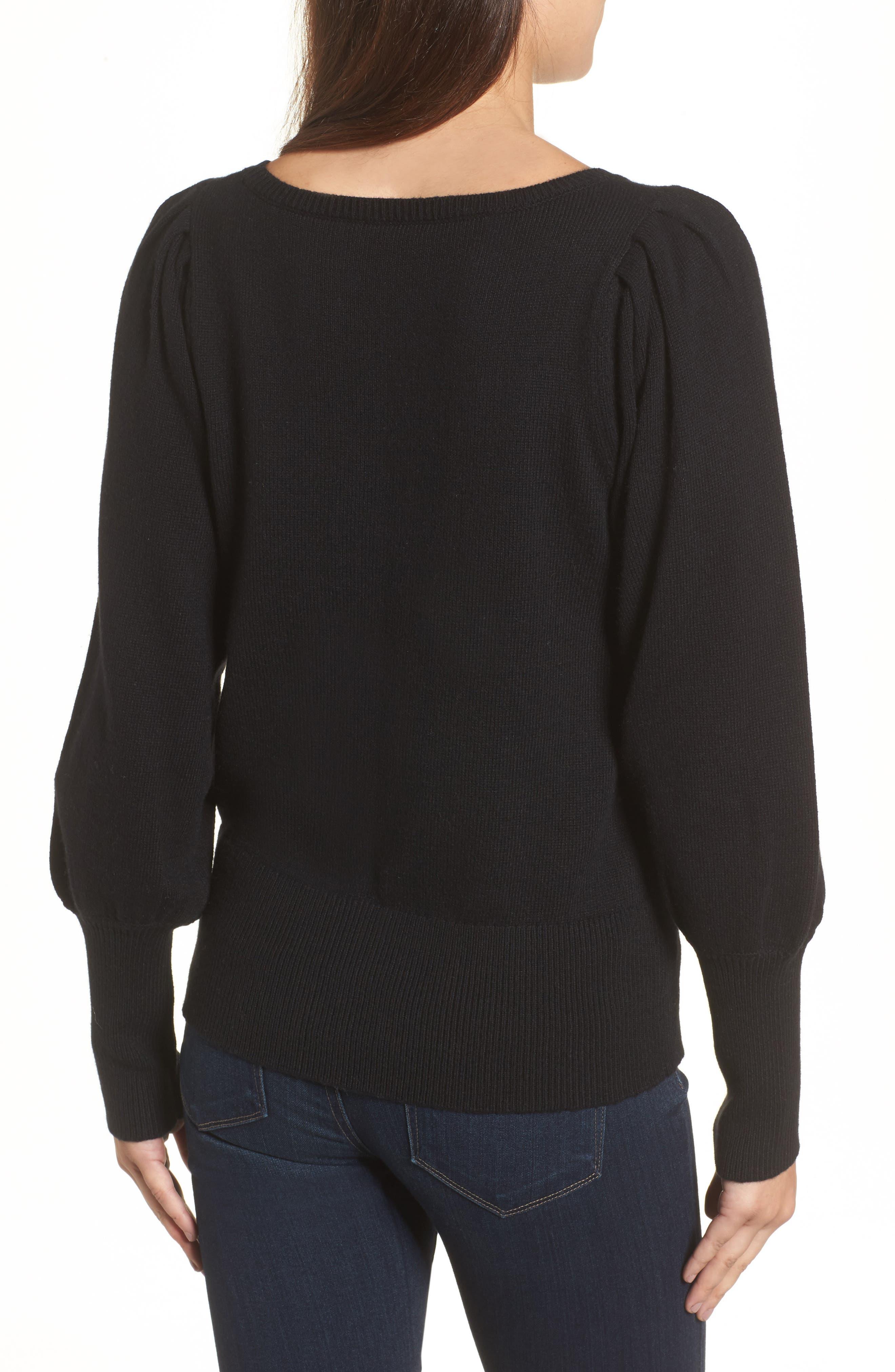 Bateau Neck Blouson Sleeve Sweater,                             Alternate thumbnail 2, color,                             001