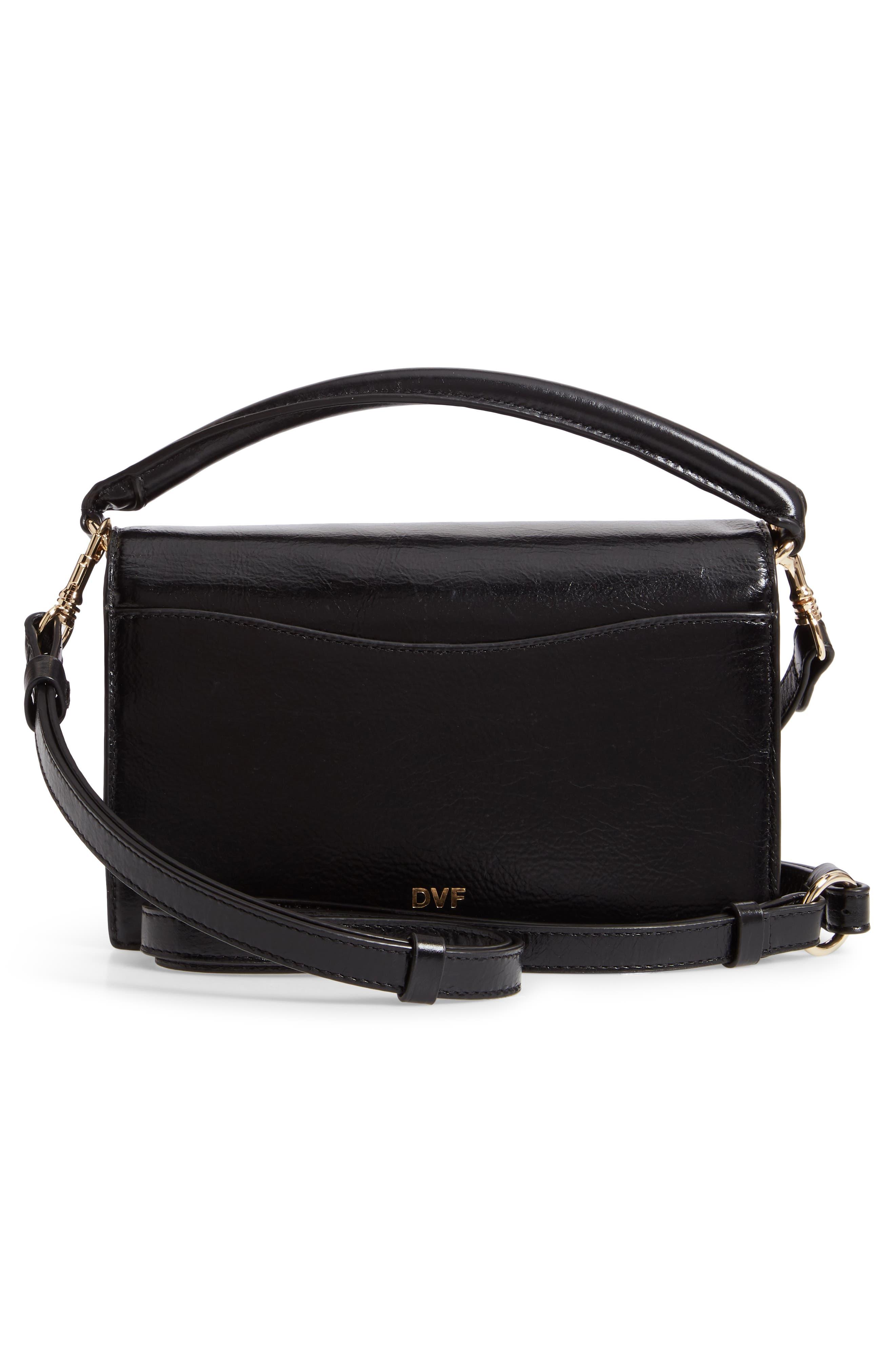 DVF Bonne Soirée Leather Top Handle Bag,                             Alternate thumbnail 3, color,                             001