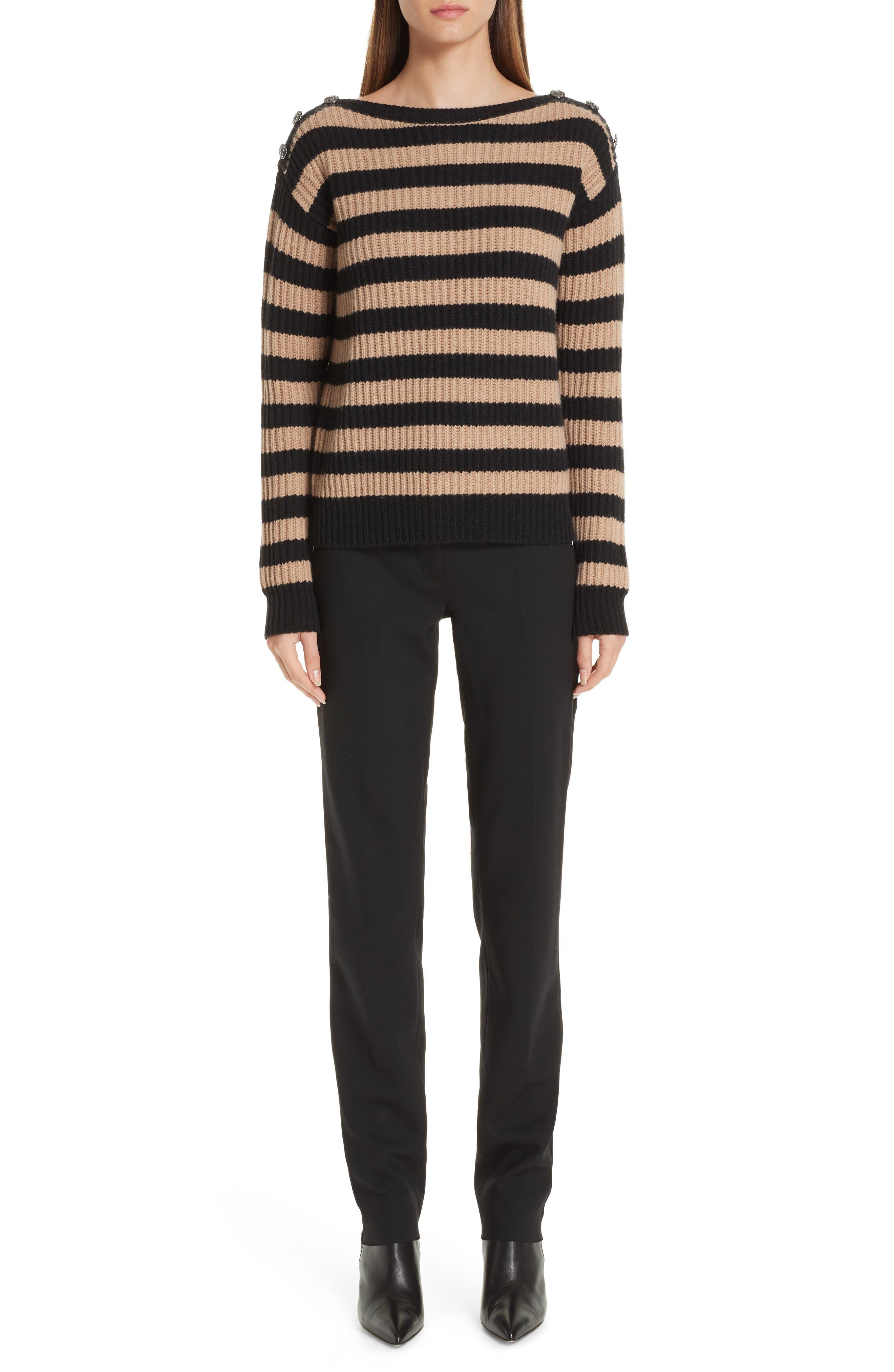 Salpa Stripe Wool & Cashmere Pullover,                             Alternate thumbnail 7, color,                             STRIPED CAMEL
