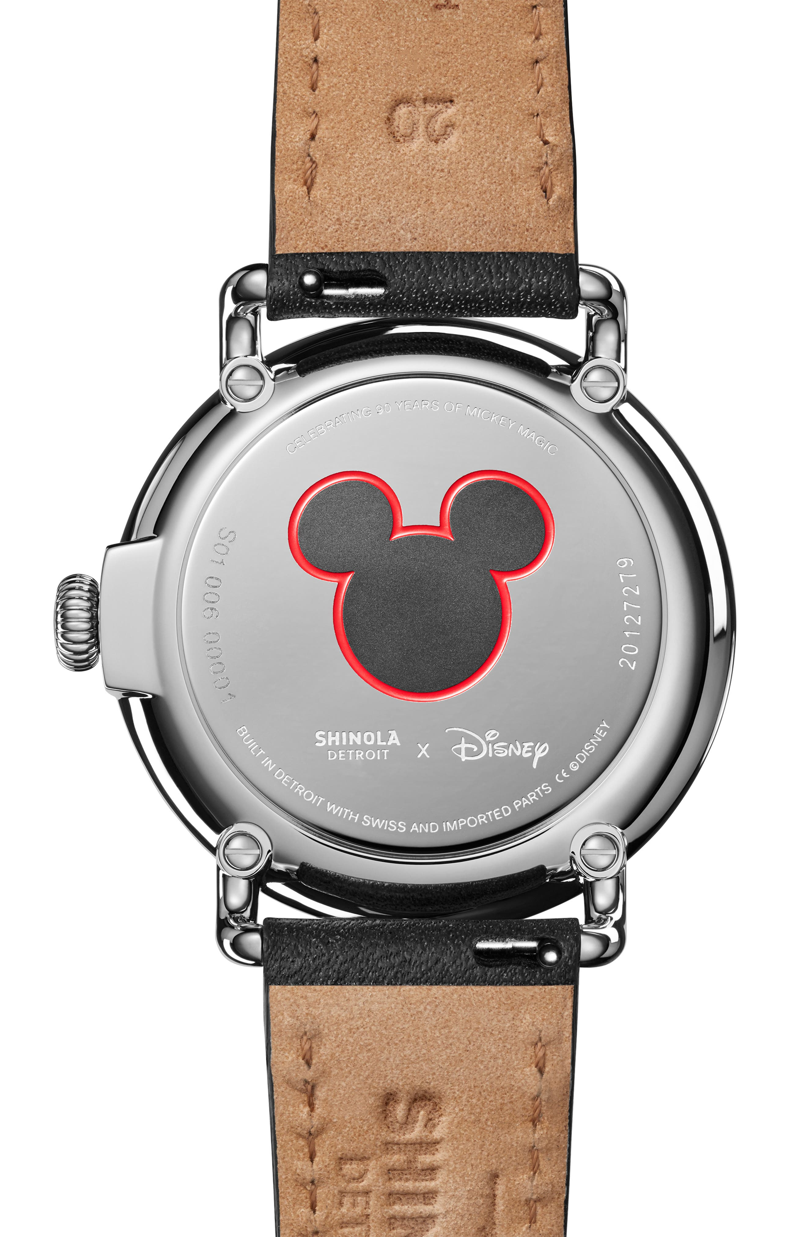 x Disney Runwell Mickey Classic Leather Strap Watch, 41mm,                             Alternate thumbnail 2, color,                             BLACK/ WHITE/ SILVER
