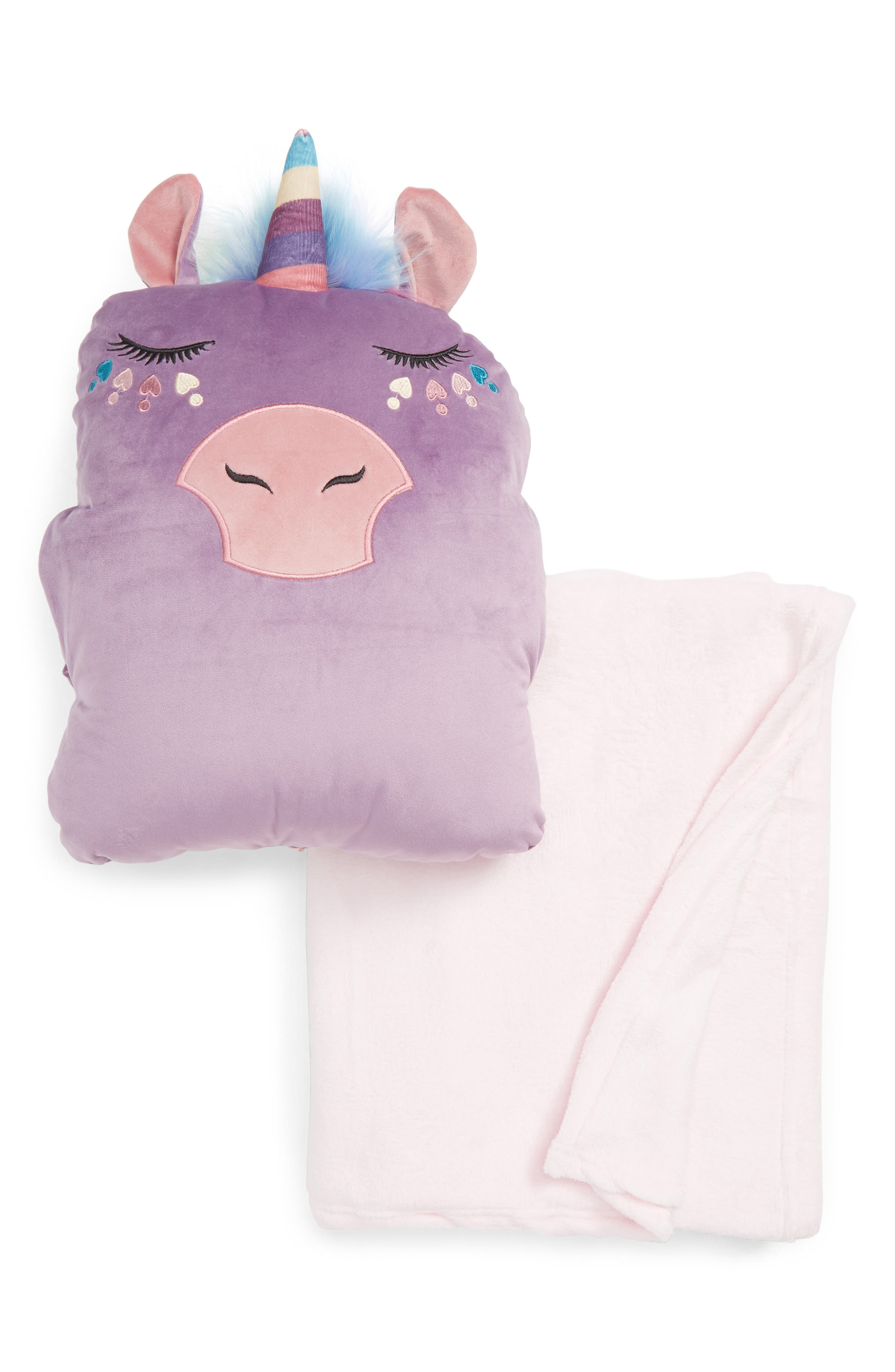 UNDER ONE SKY,                             Critter Pillow & Throw Set,                             Main thumbnail 1, color,                             LAVENDER UNICORN