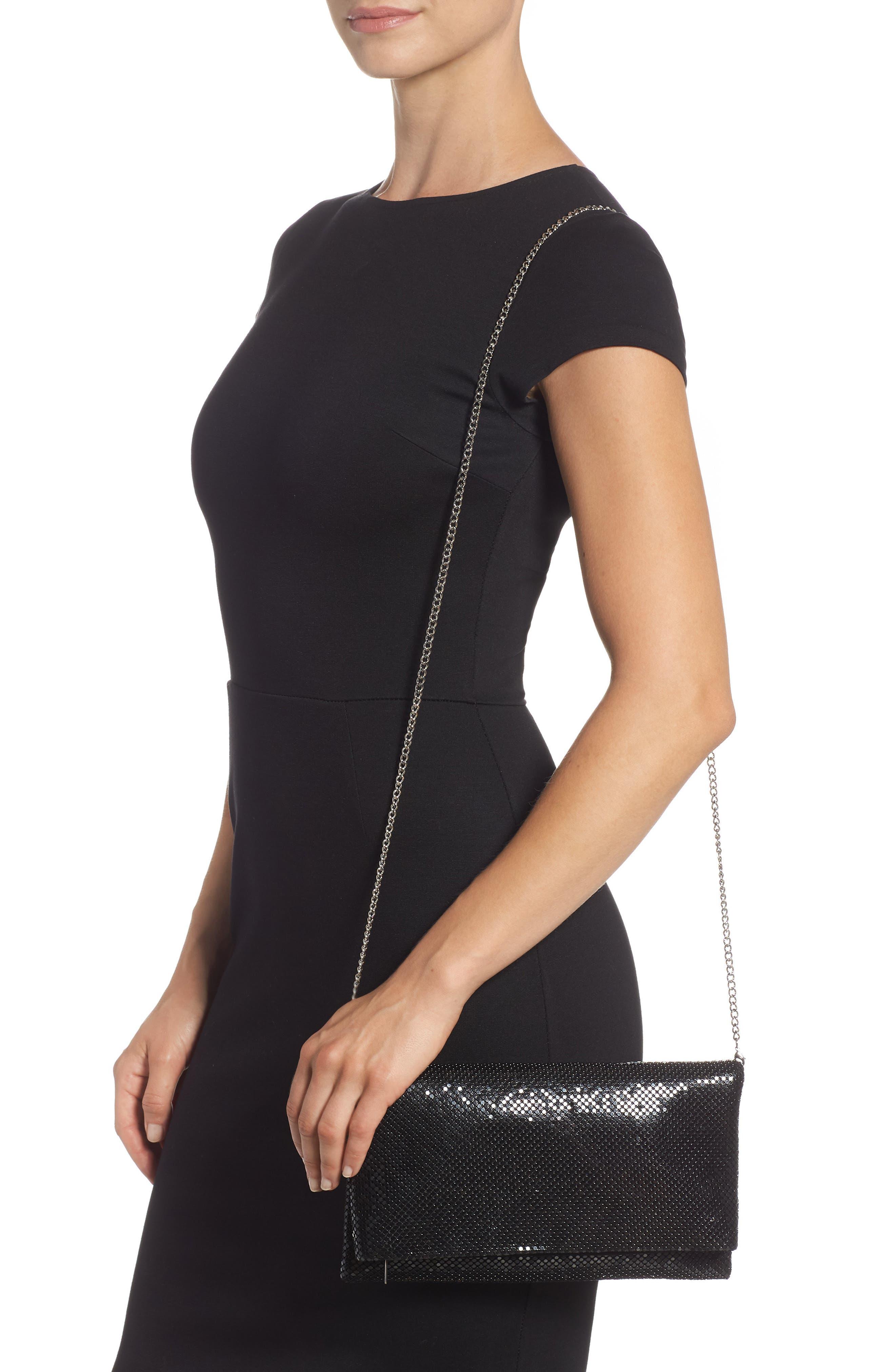 Crystal Mesh Crossbody Bag,                             Alternate thumbnail 2, color,                             BLACK