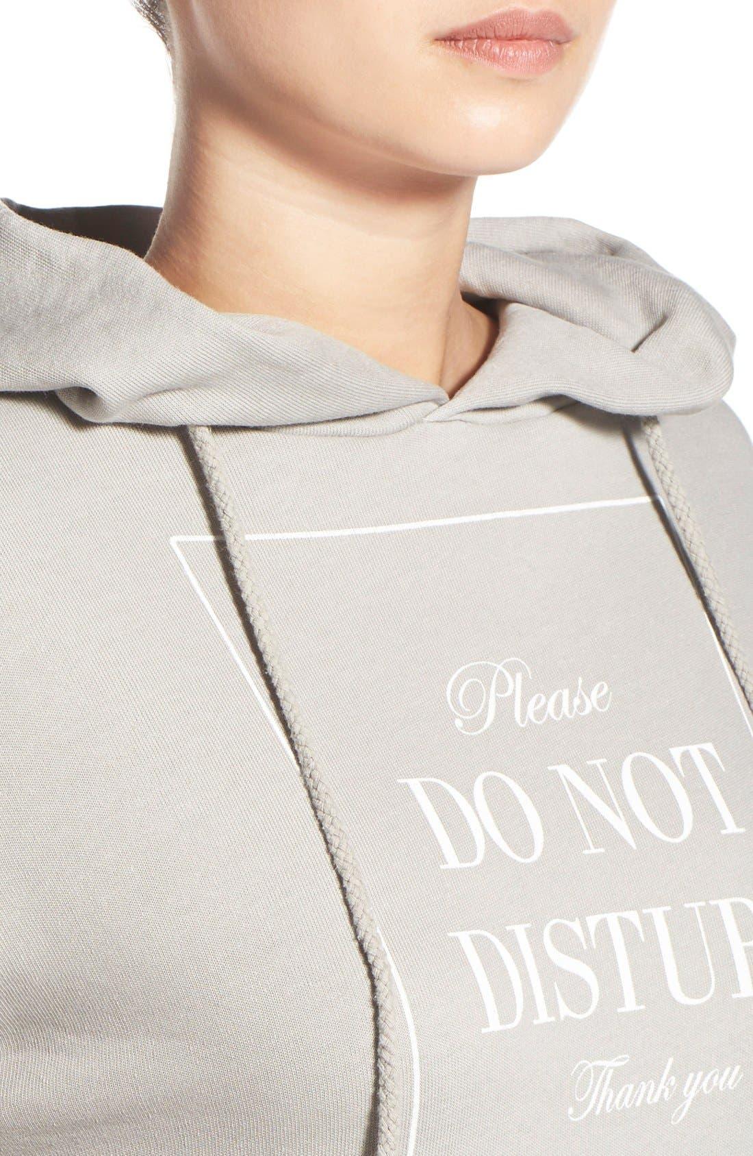 'Please Do Not Disturb' Hooded Sweatshirt,                             Alternate thumbnail 4, color,                             060
