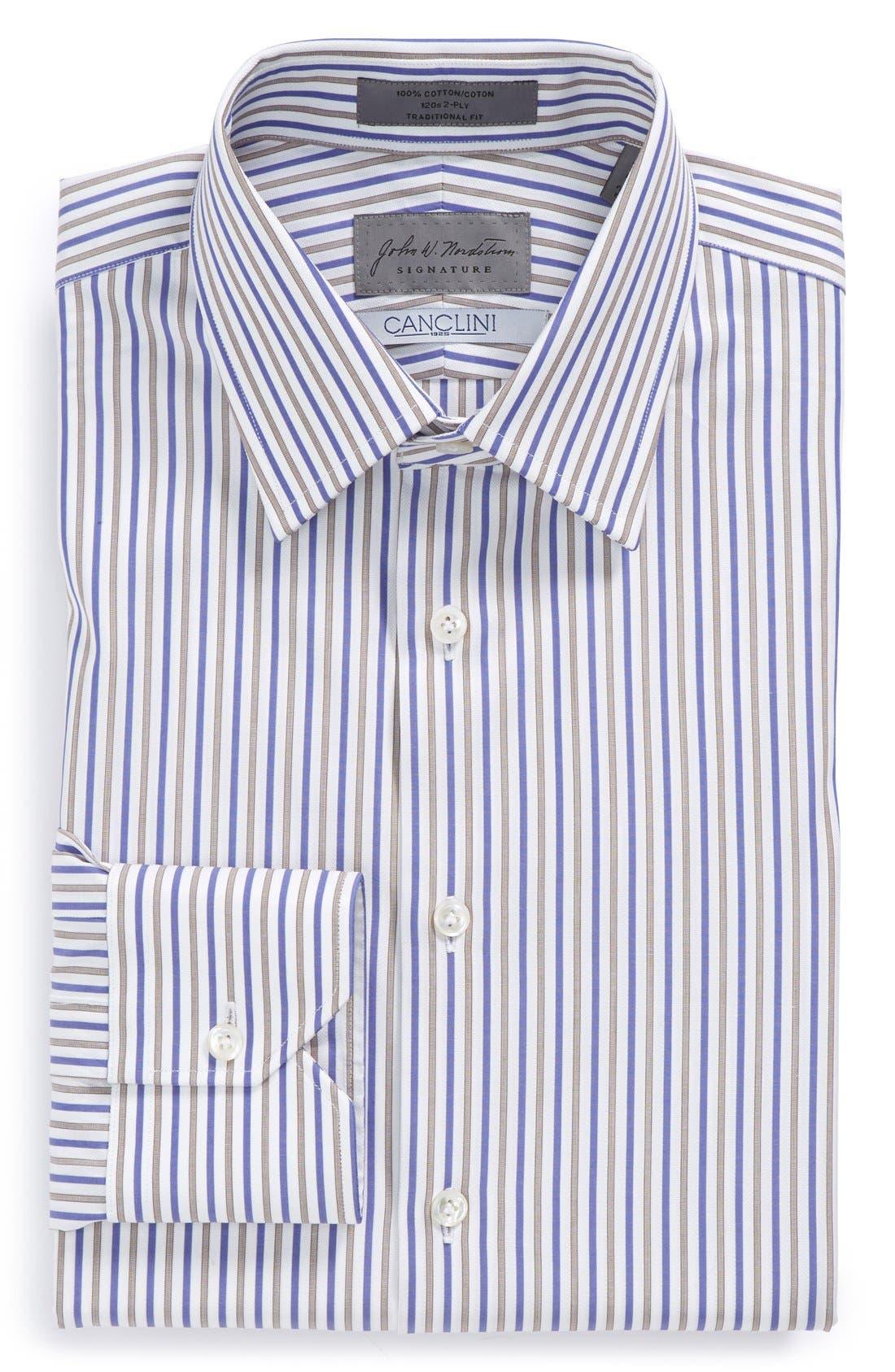 Traditional Fit Stripe Dress Shirt,                             Main thumbnail 1, color,                             450