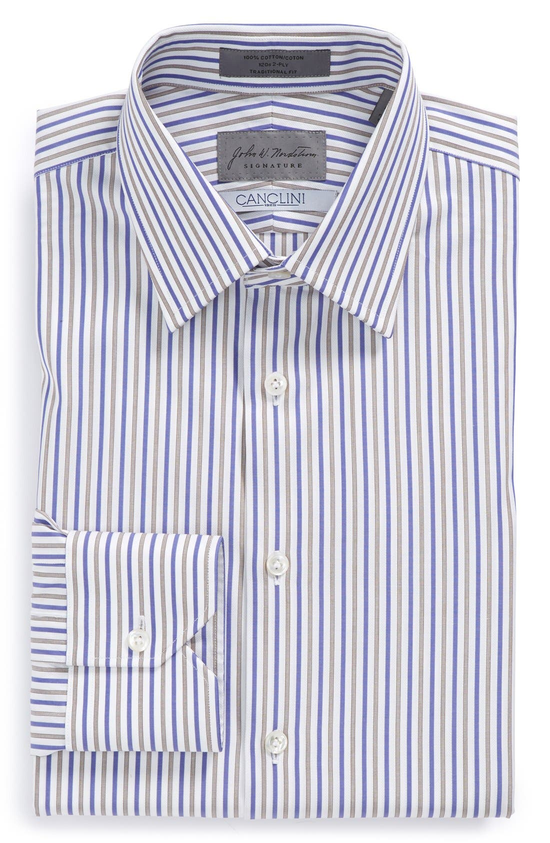 Traditional Fit Stripe Dress Shirt, Main, color, 450