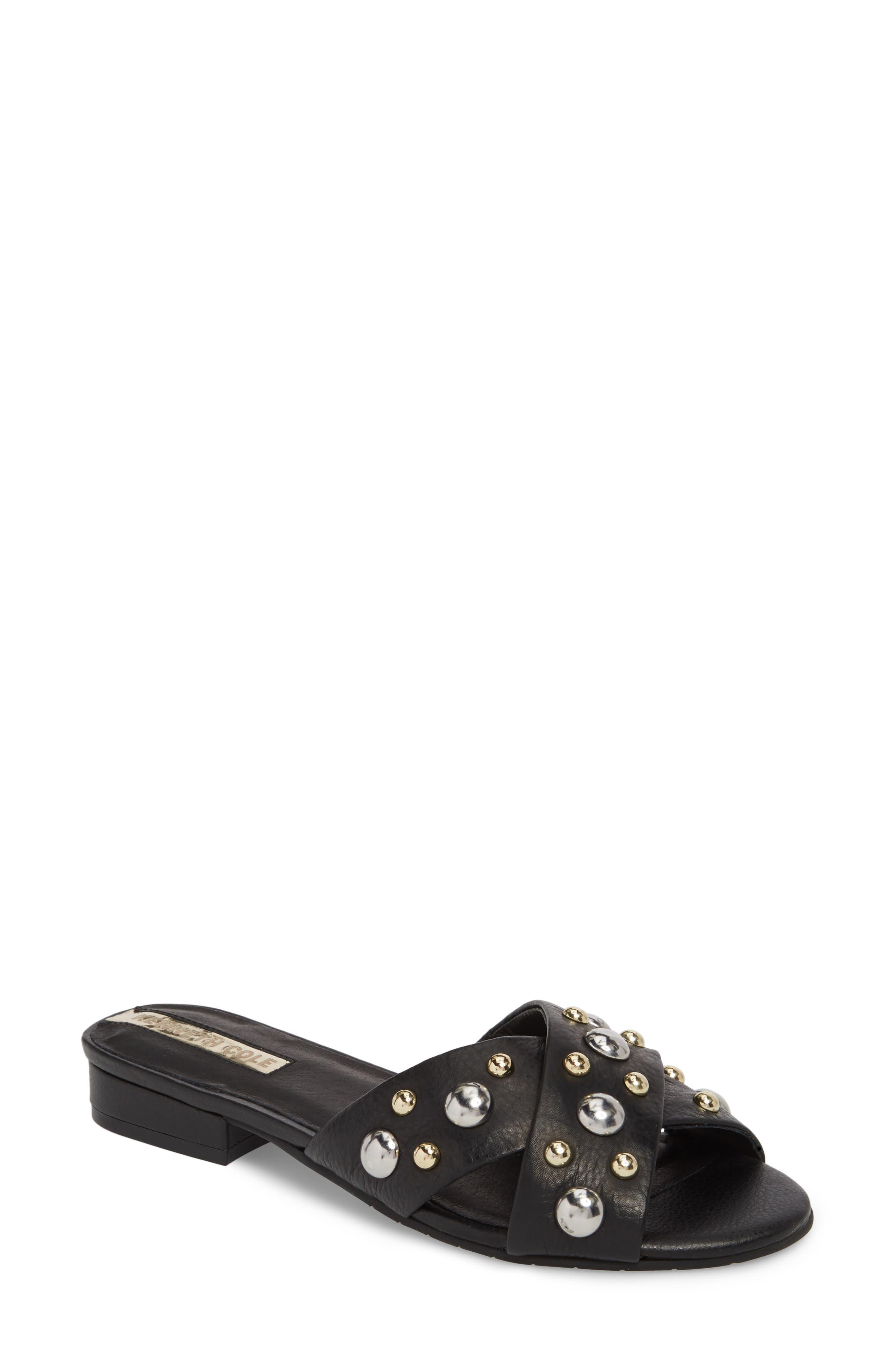 Verna Studded Slide Sandal,                             Main thumbnail 1, color,