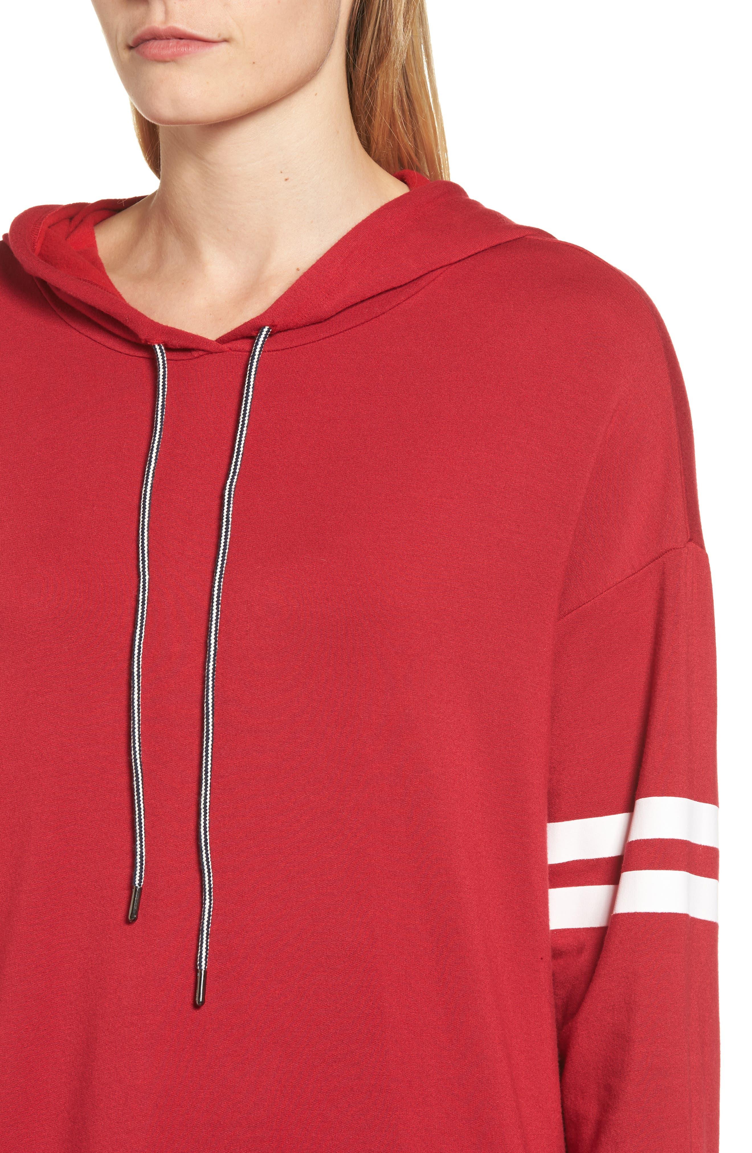 Stripe Sleeve Hoodie,                             Alternate thumbnail 8, color,