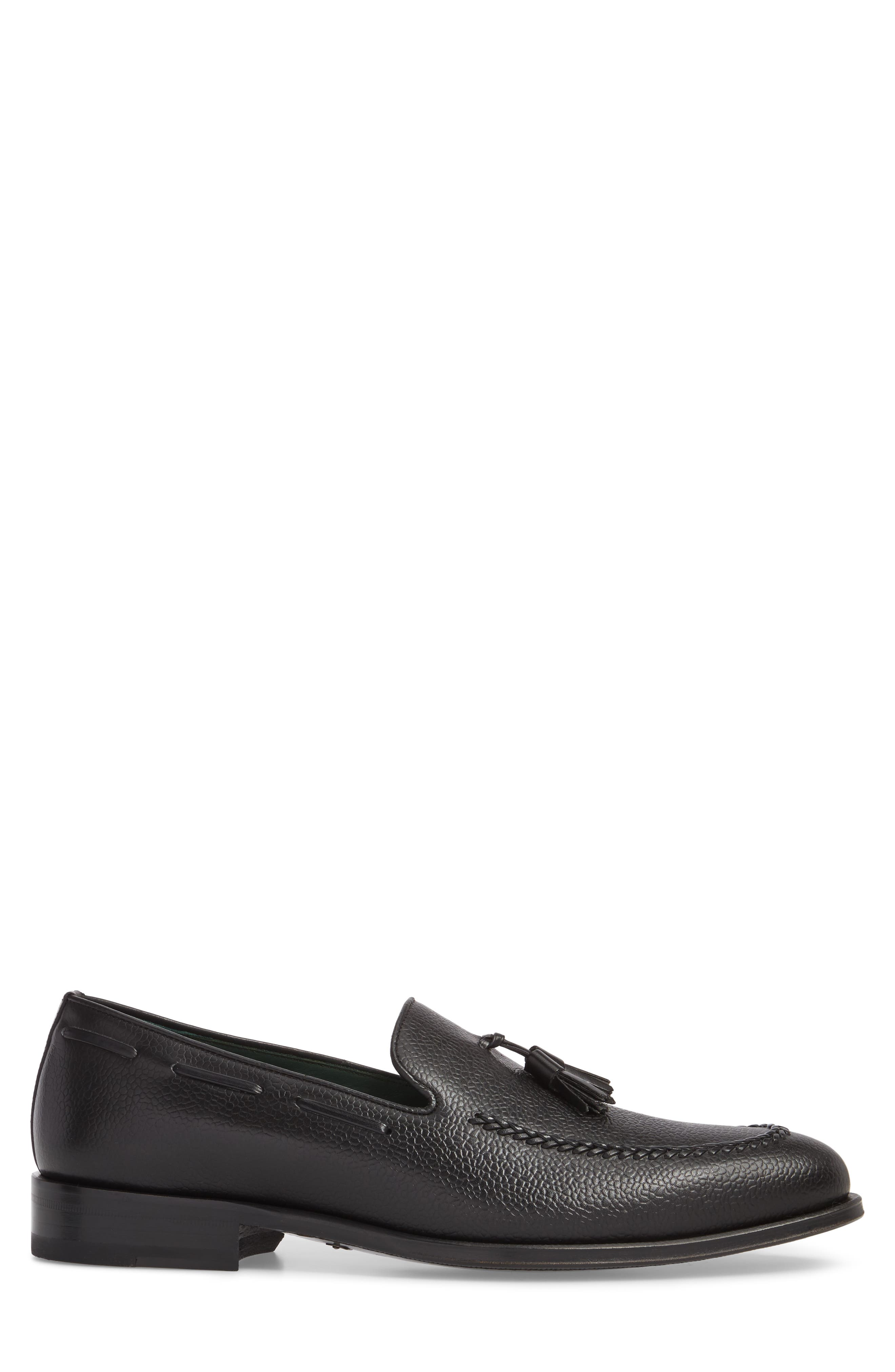 Sabina Tasseled Venetian Loafer,                             Alternate thumbnail 3, color,                             BLACK LEATHER