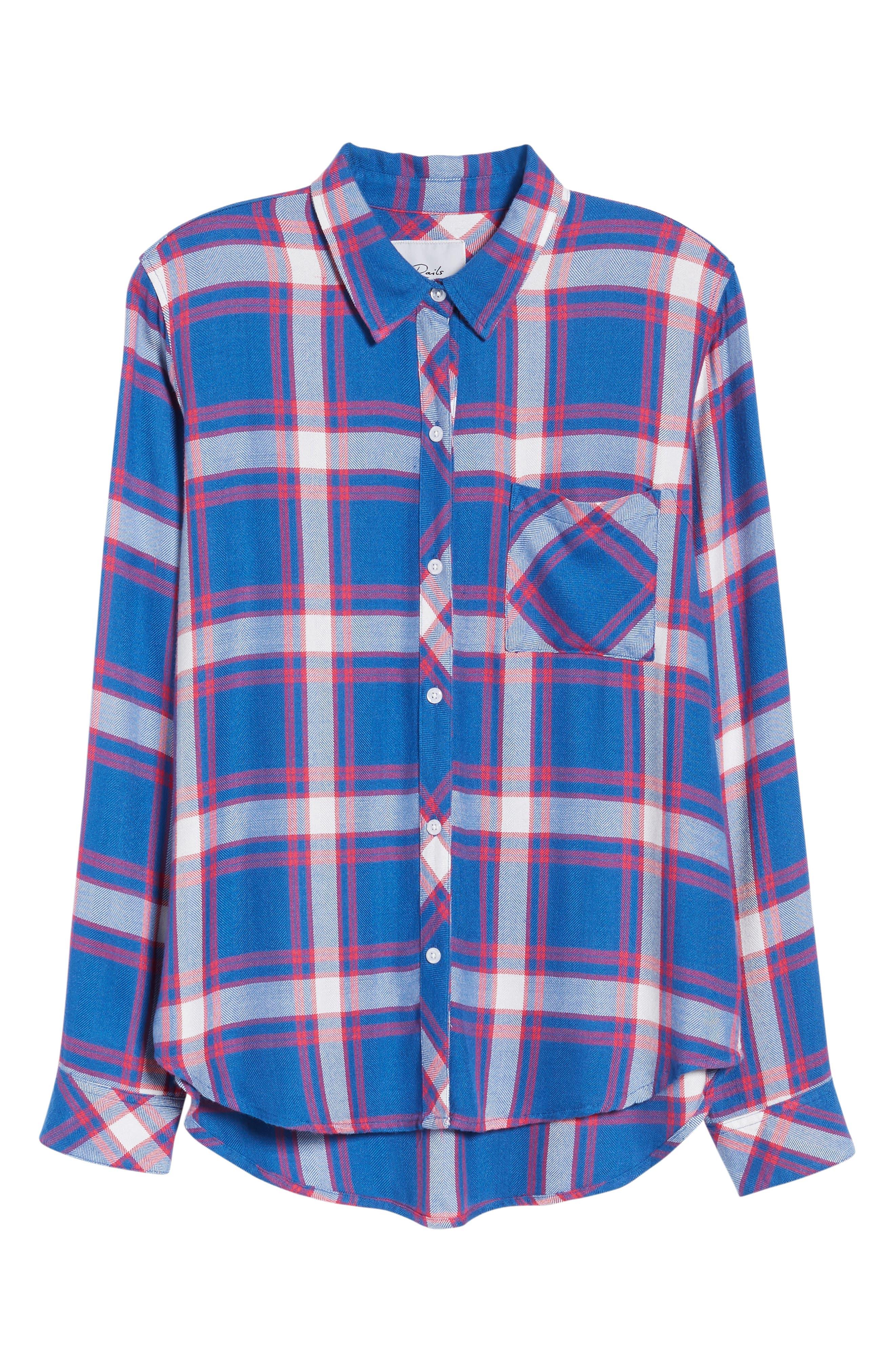 Hunter Plaid Shirt,                             Alternate thumbnail 7, color,                             RUBY SKY WHITE