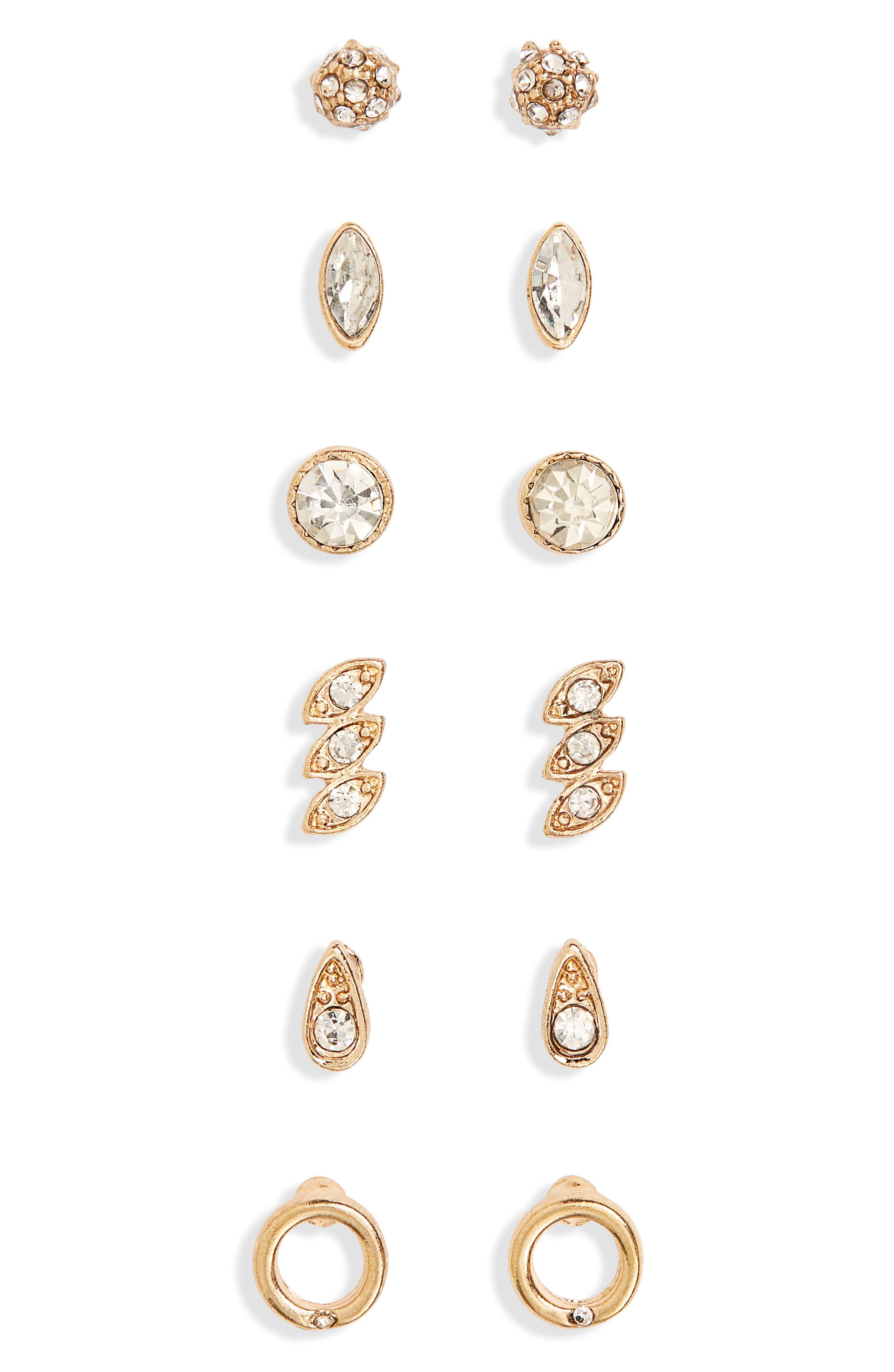 6-Pack Crystal Stud Earrings,                             Main thumbnail 1, color,                             710