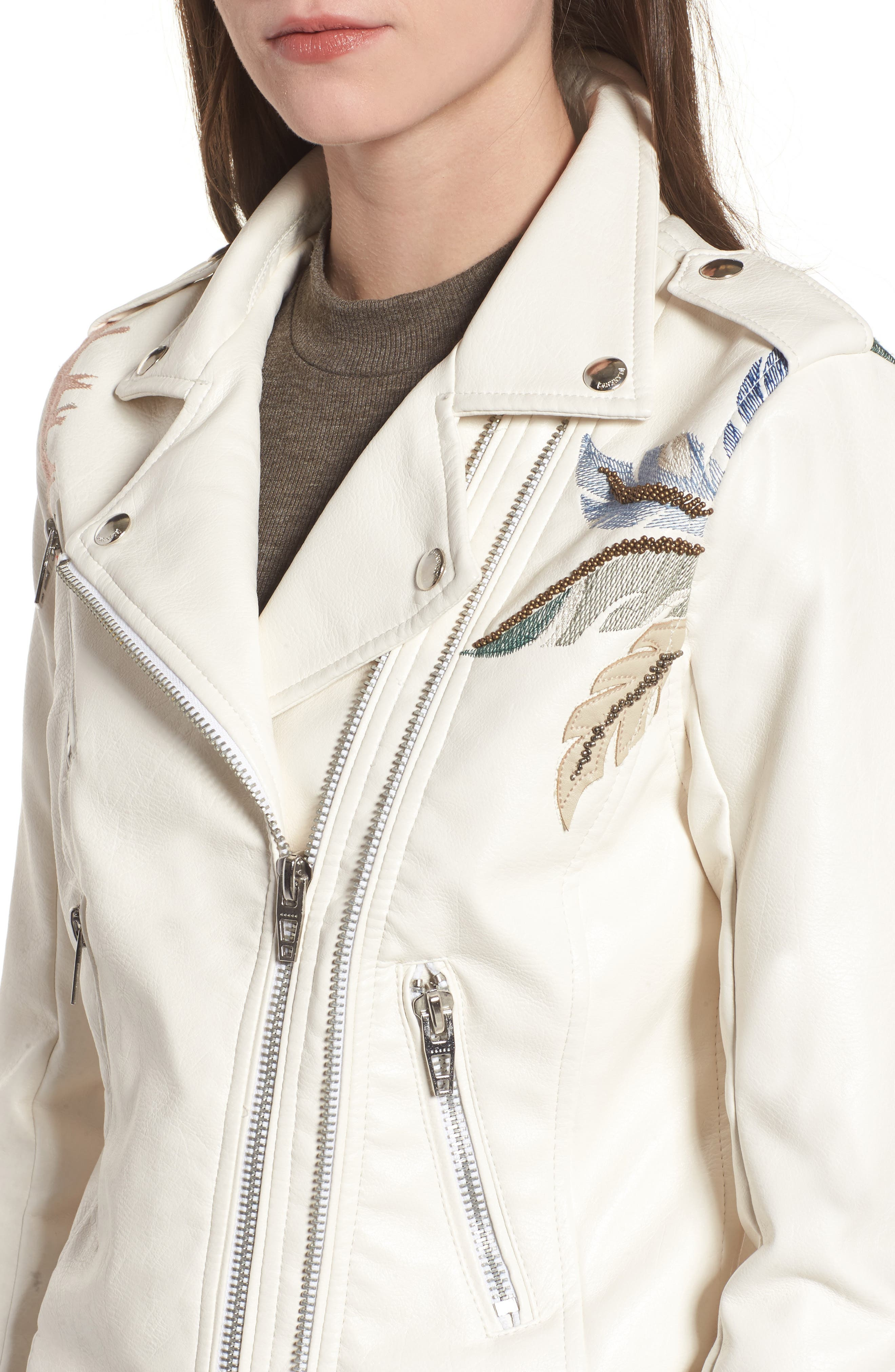 Embroidered Faux Leather Moto Jacket,                             Alternate thumbnail 4, color,                             900