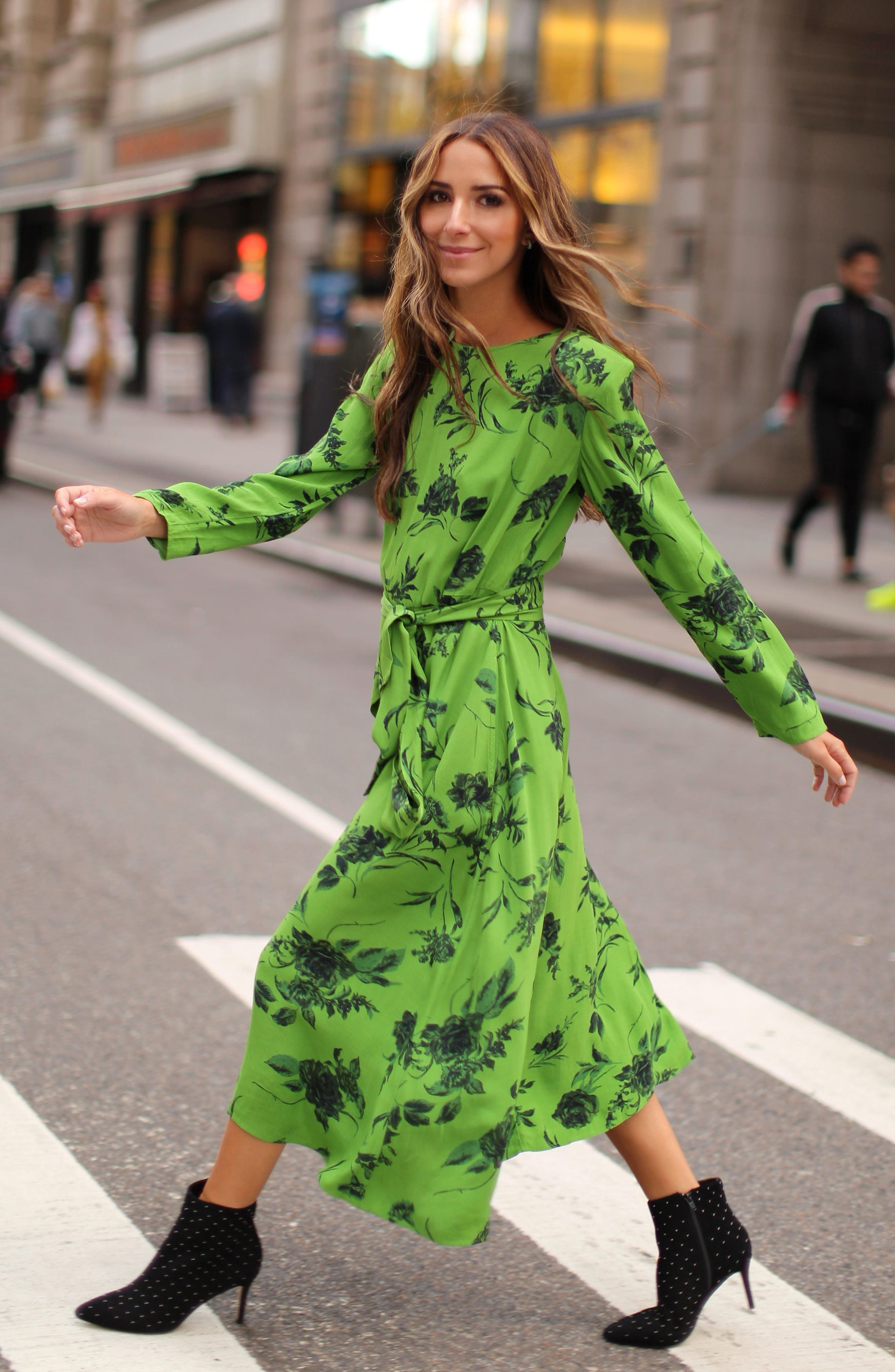 Belted Midi Dress,                             Alternate thumbnail 2, color,                             GREEN ENERGY TONAL FLORAL
