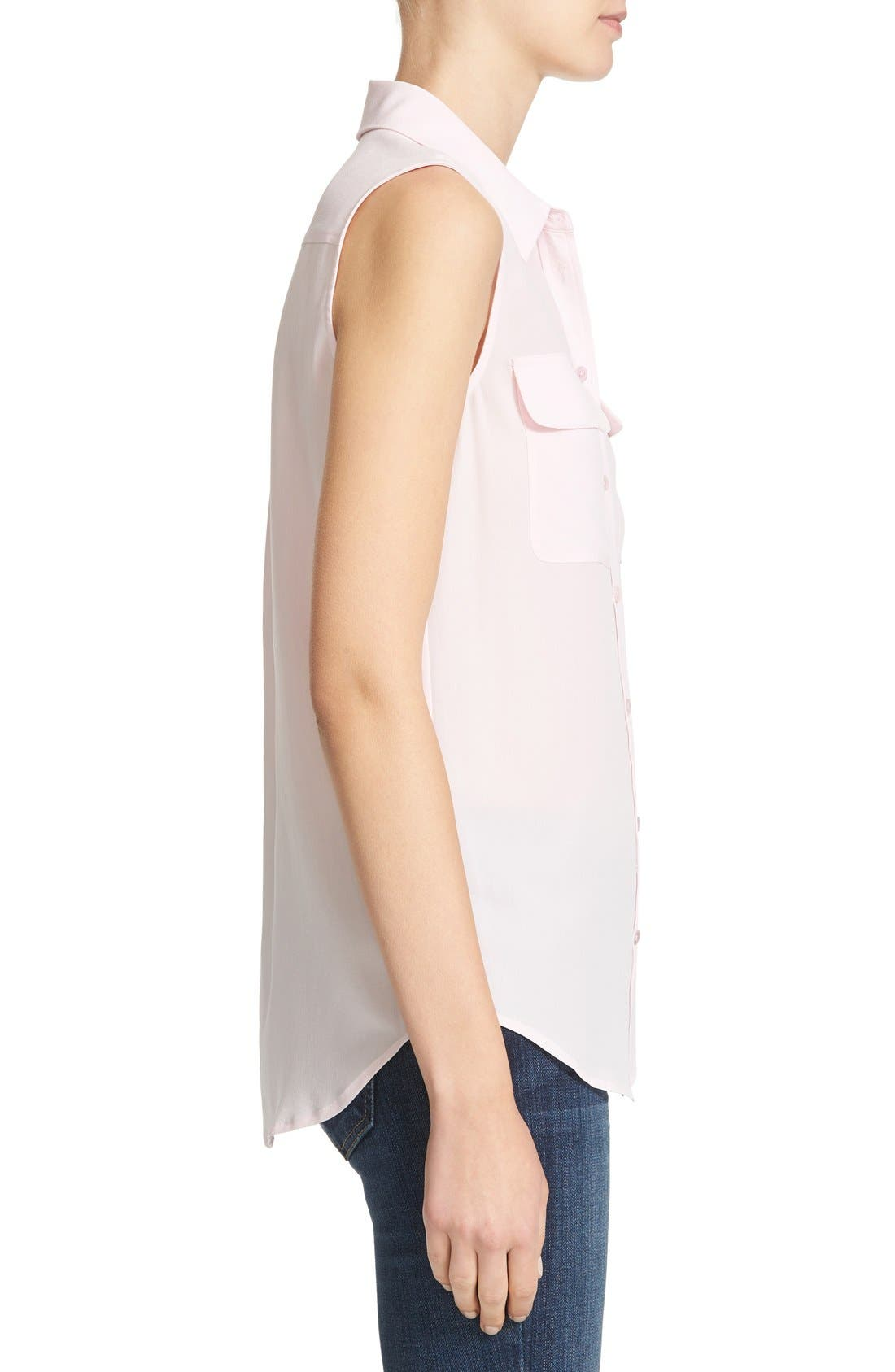 'Slim Signature' Sleeveless Silk Shirt,                             Alternate thumbnail 138, color,