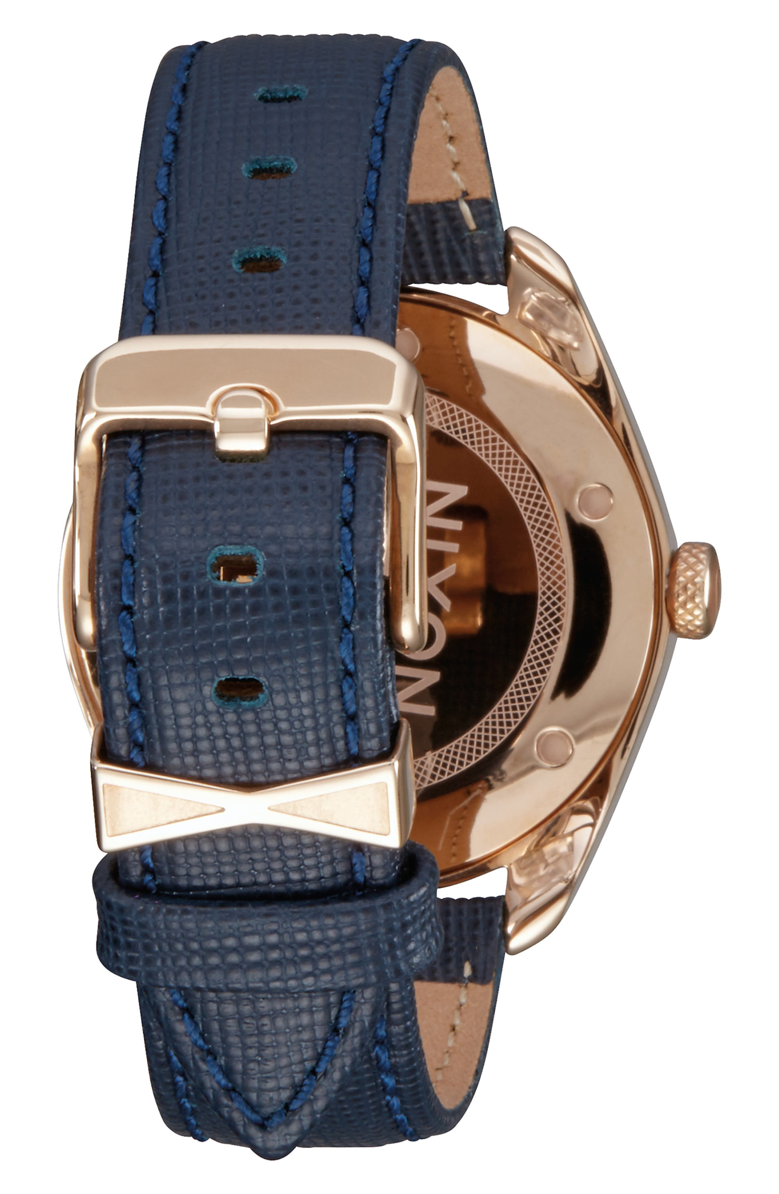 'Bullet' Guilloche Dial Oval Leather Strap Watch, 38mm,                             Alternate thumbnail 2, color,                             NAVY/ ROSE GOLD