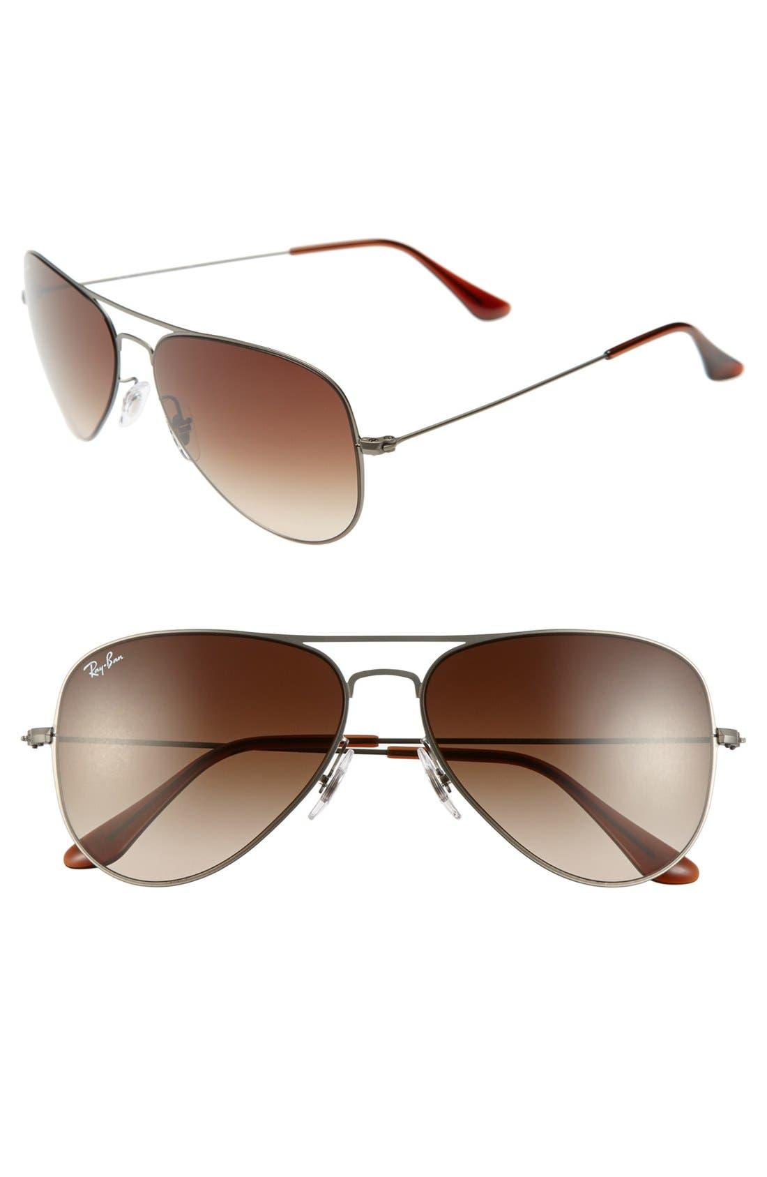 58mm Steel Aviator Sunglasses,                             Main thumbnail 1, color,                             064