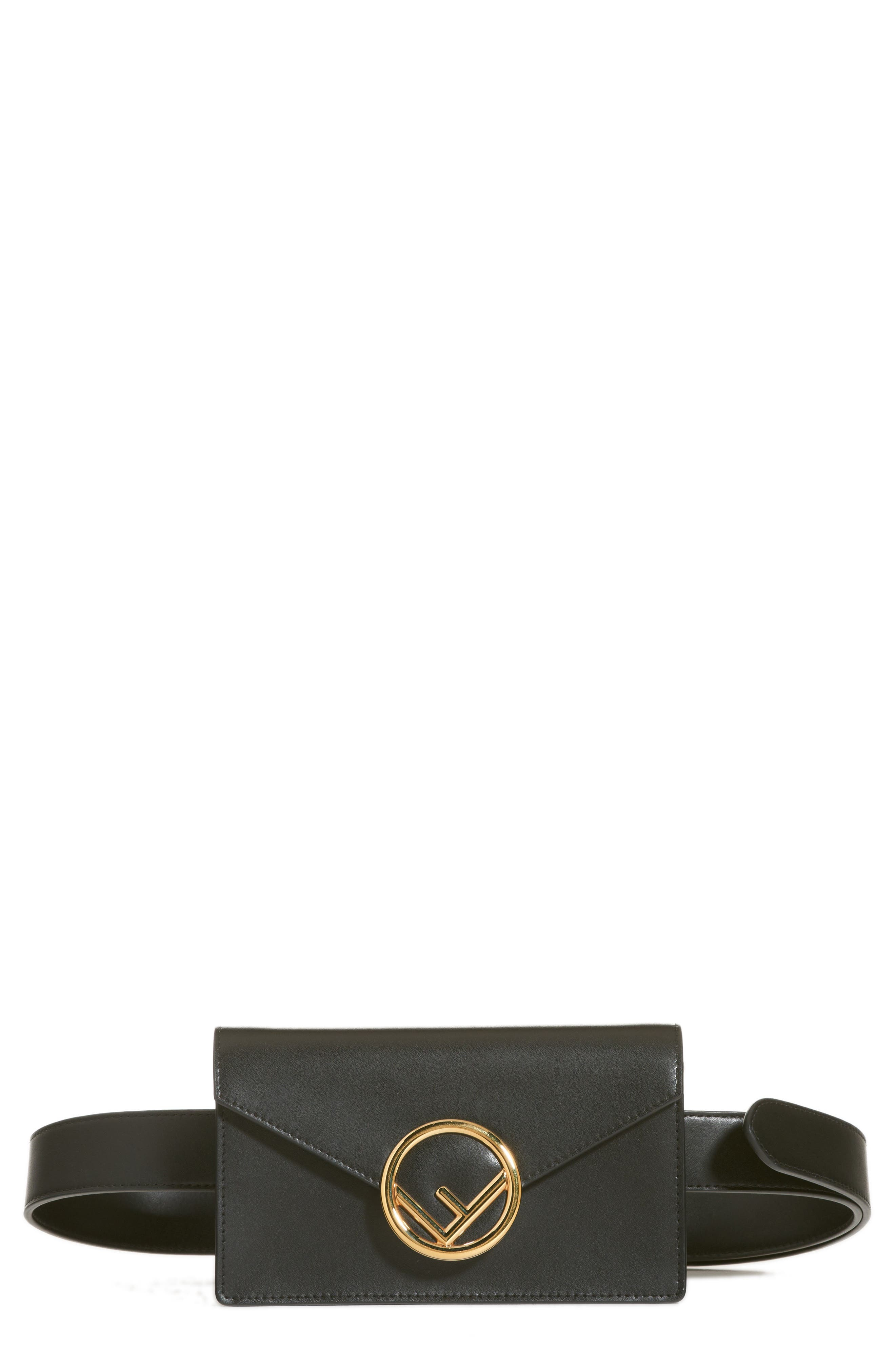 Liberty Logo Calfskin Leather Belt Bag,                             Main thumbnail 1, color,                             NERO/ ORO SOFT