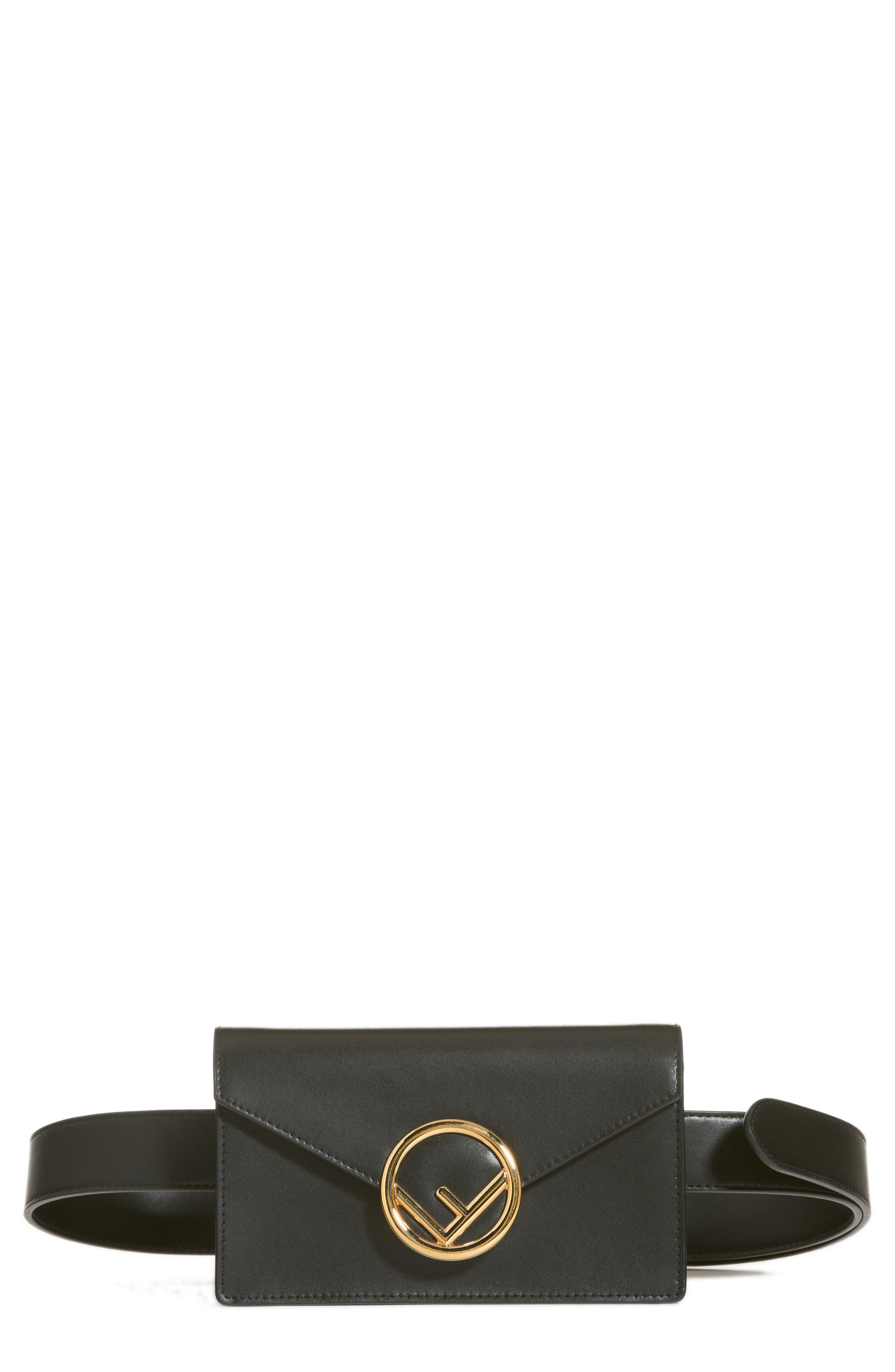Liberty Logo Calfskin Leather Belt Bag,                         Main,                         color, NERO/ ORO SOFT
