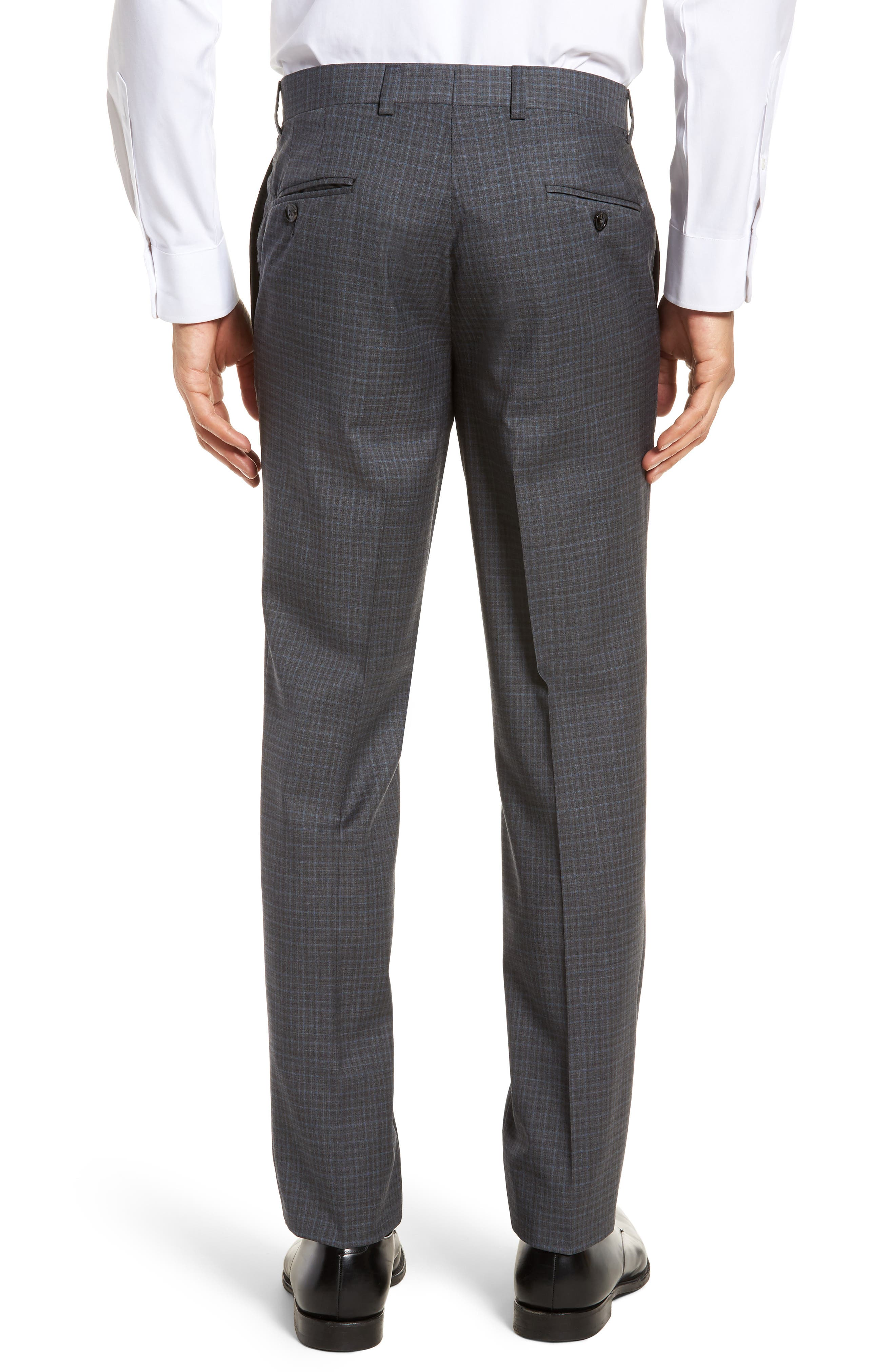 Jefferson Flat Front Check Wool Trousers,                             Alternate thumbnail 4, color,