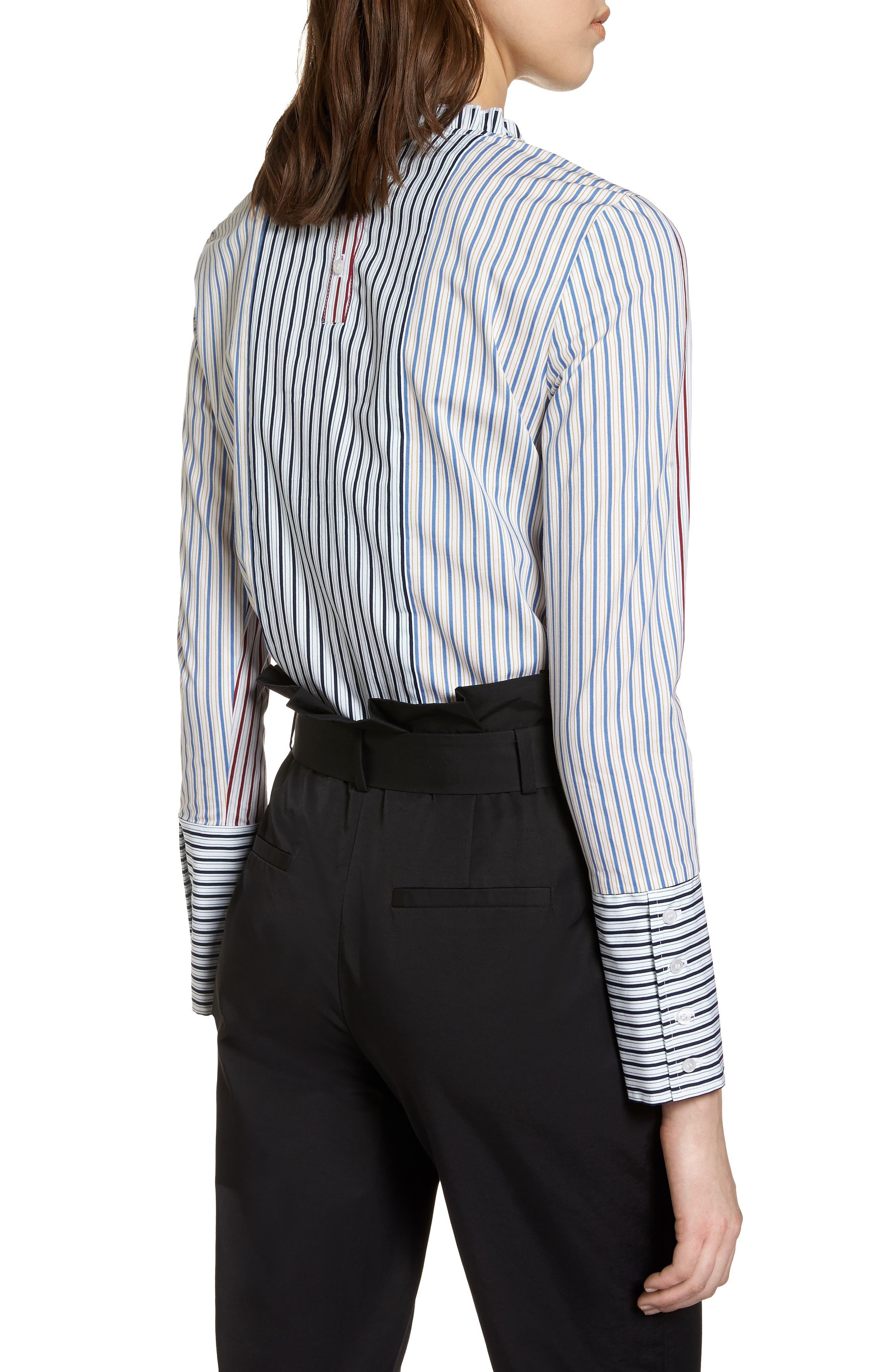 HALOGEN<SUP>®</SUP>,                             Mixed Stripe Cotton Shirt,                             Alternate thumbnail 2, color,                             100