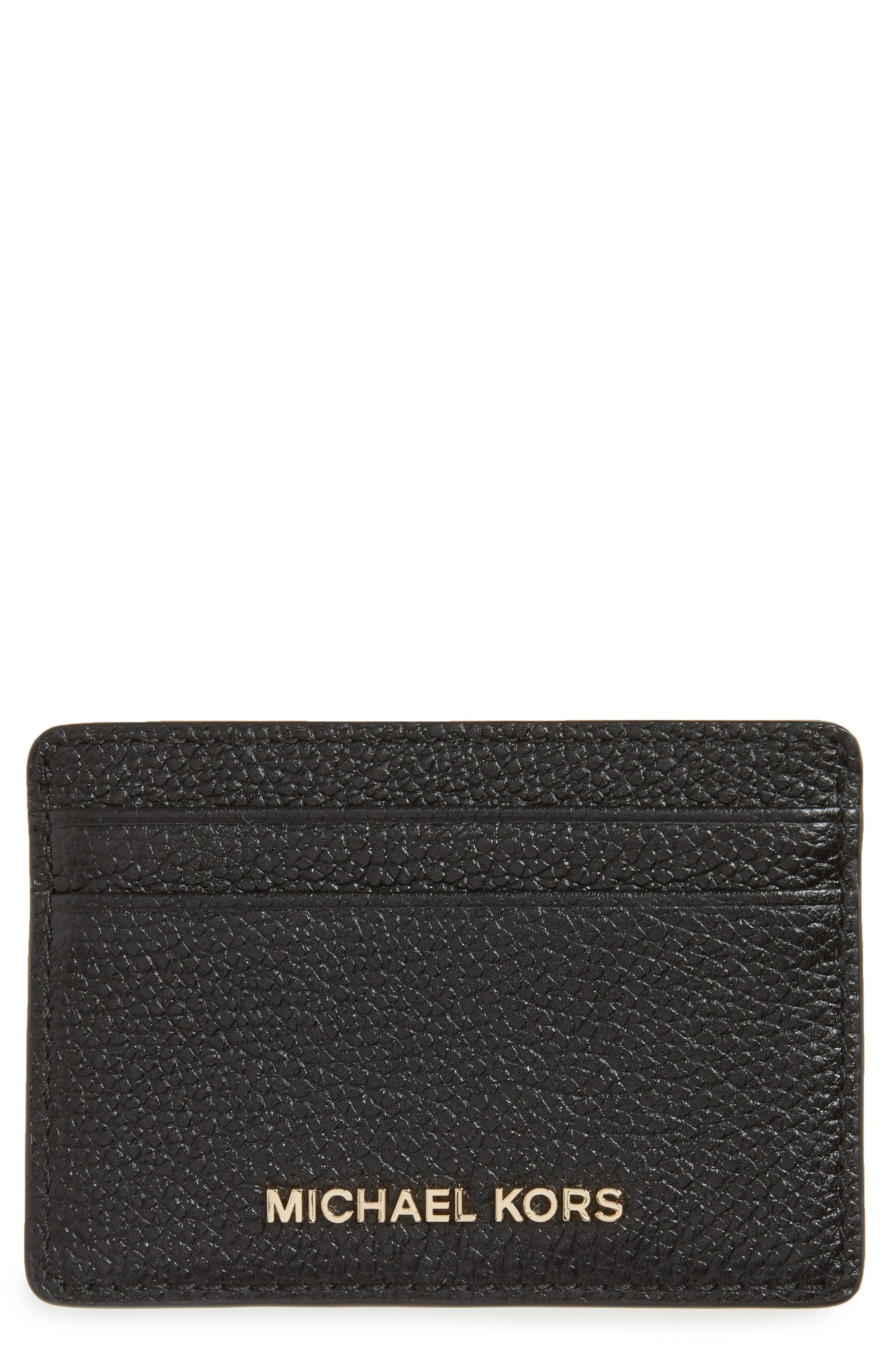 Money Pieces Leather Card Case,                         Main,                         color, 001
