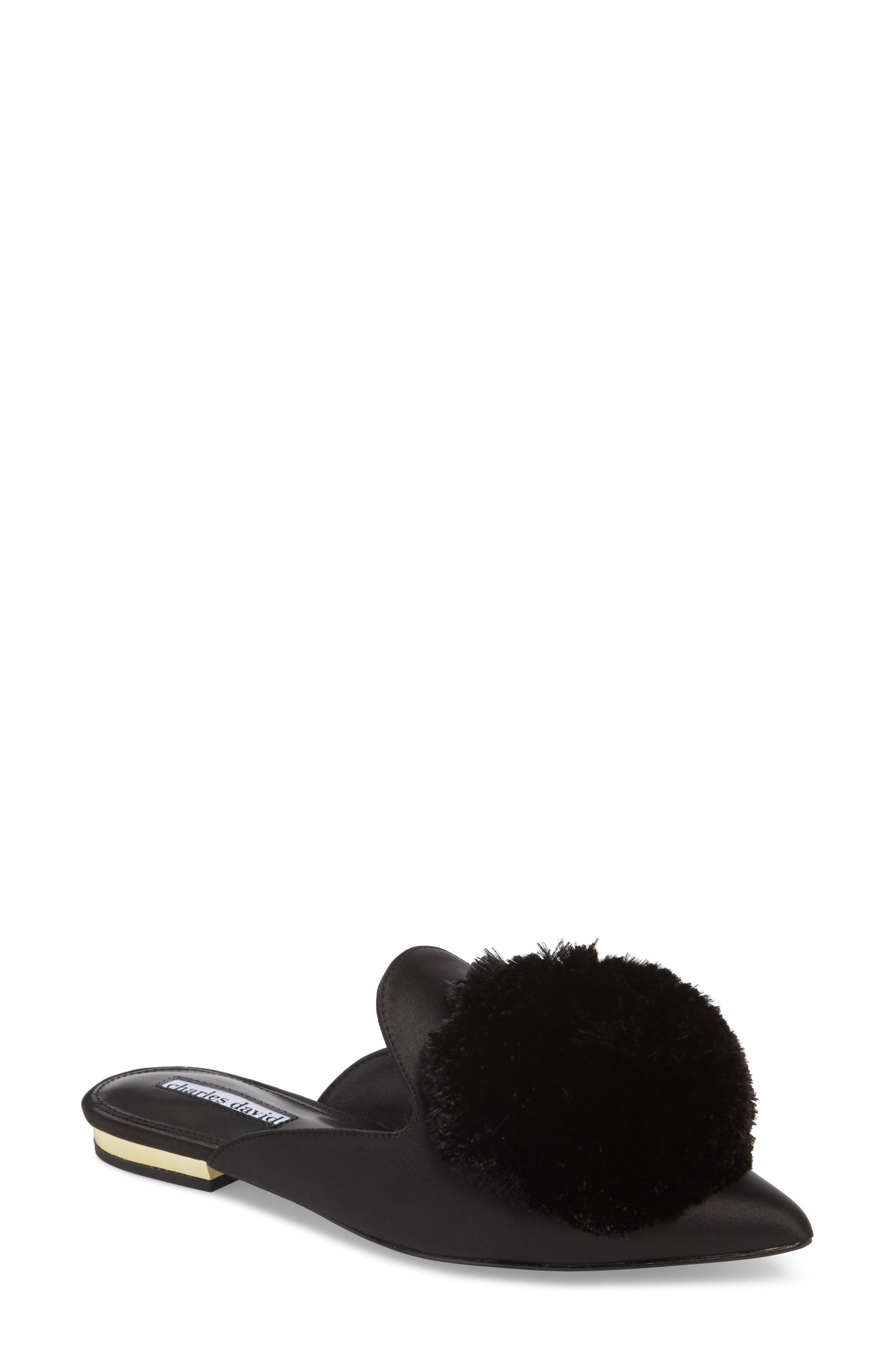 Charles David Wella Pompom Loafer Mule, Black