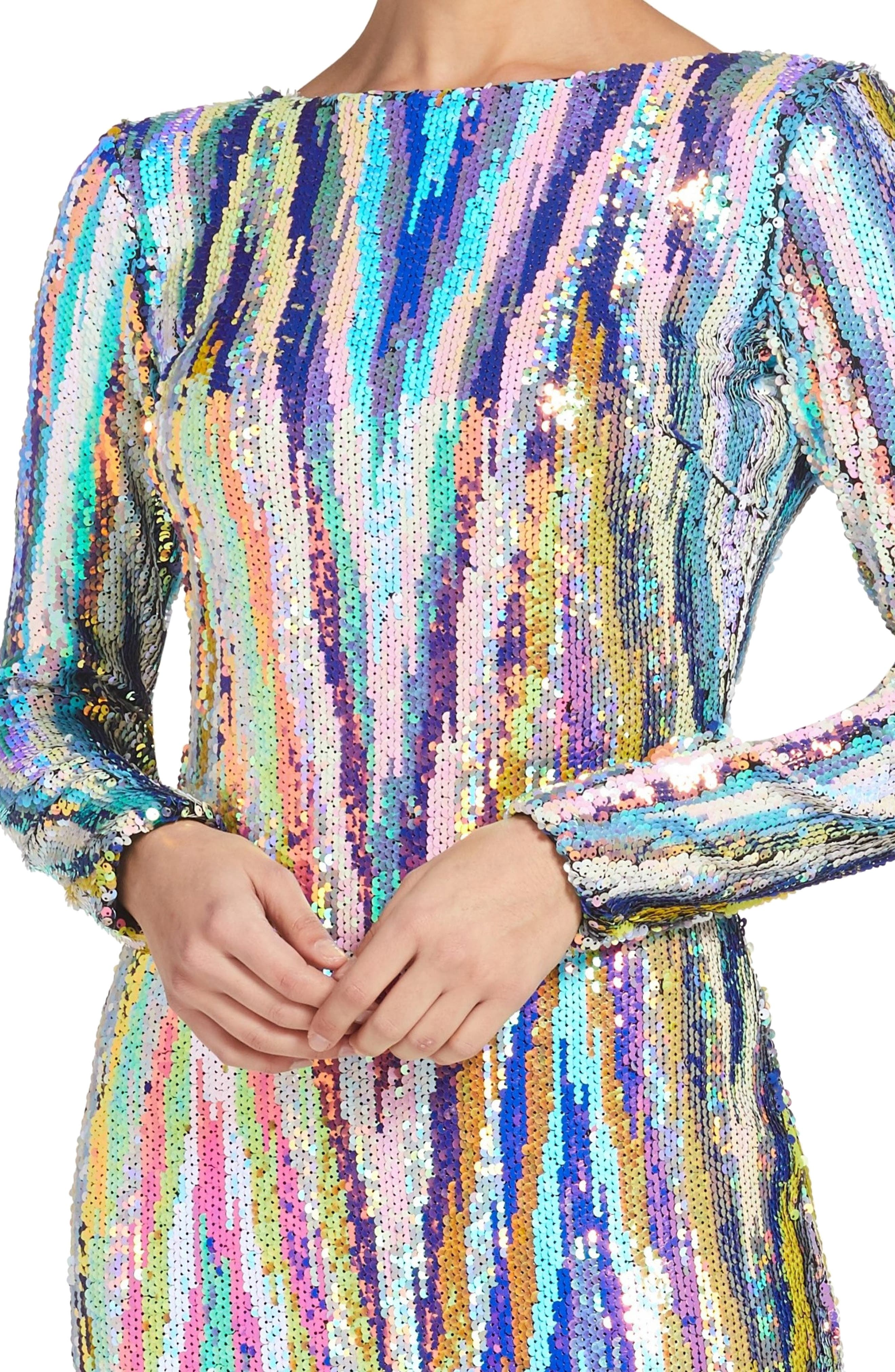 Lola Sequin Body-Con Dress,                             Alternate thumbnail 4, color,                             OPAL MULTI
