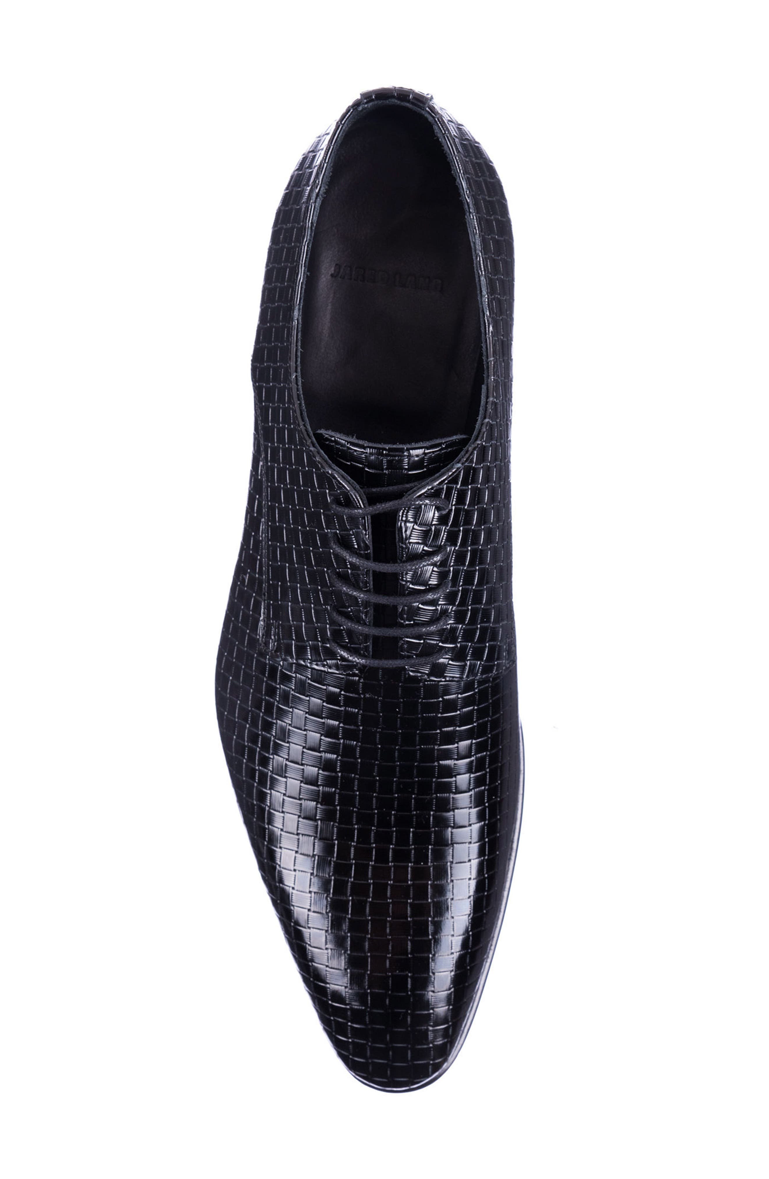 Franco Weave Textured Derby,                             Alternate thumbnail 5, color,                             BLACK LEATHER